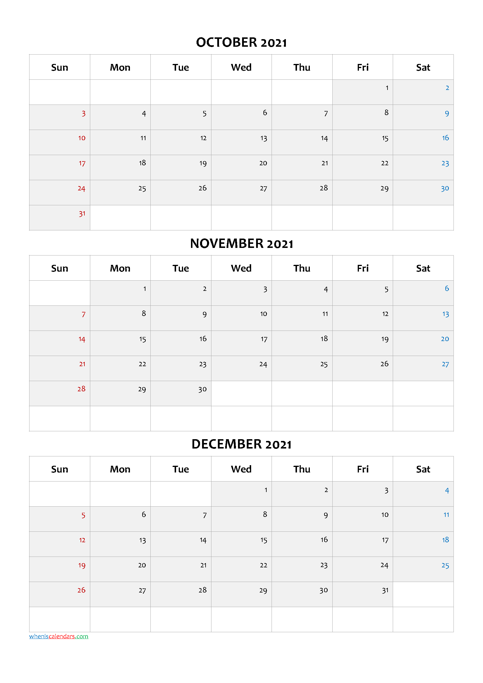 Calendar October November December 2021 PDF