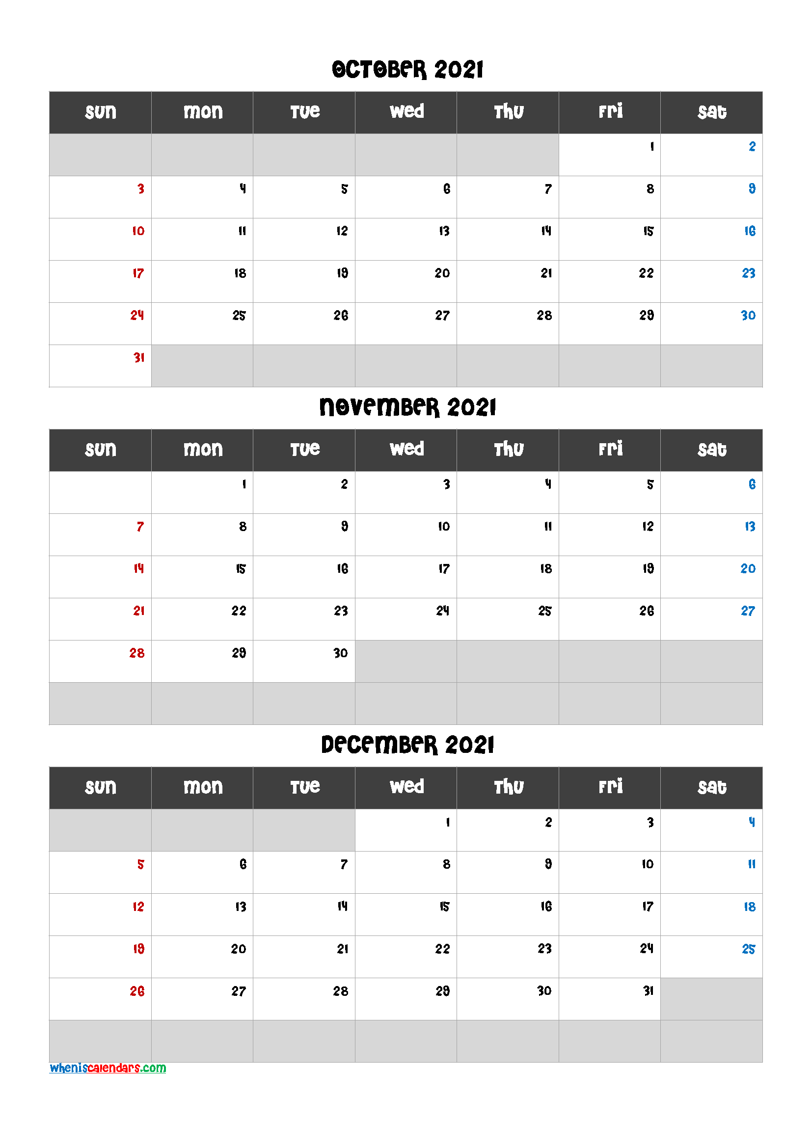 Printable Calendar October November December 2021
