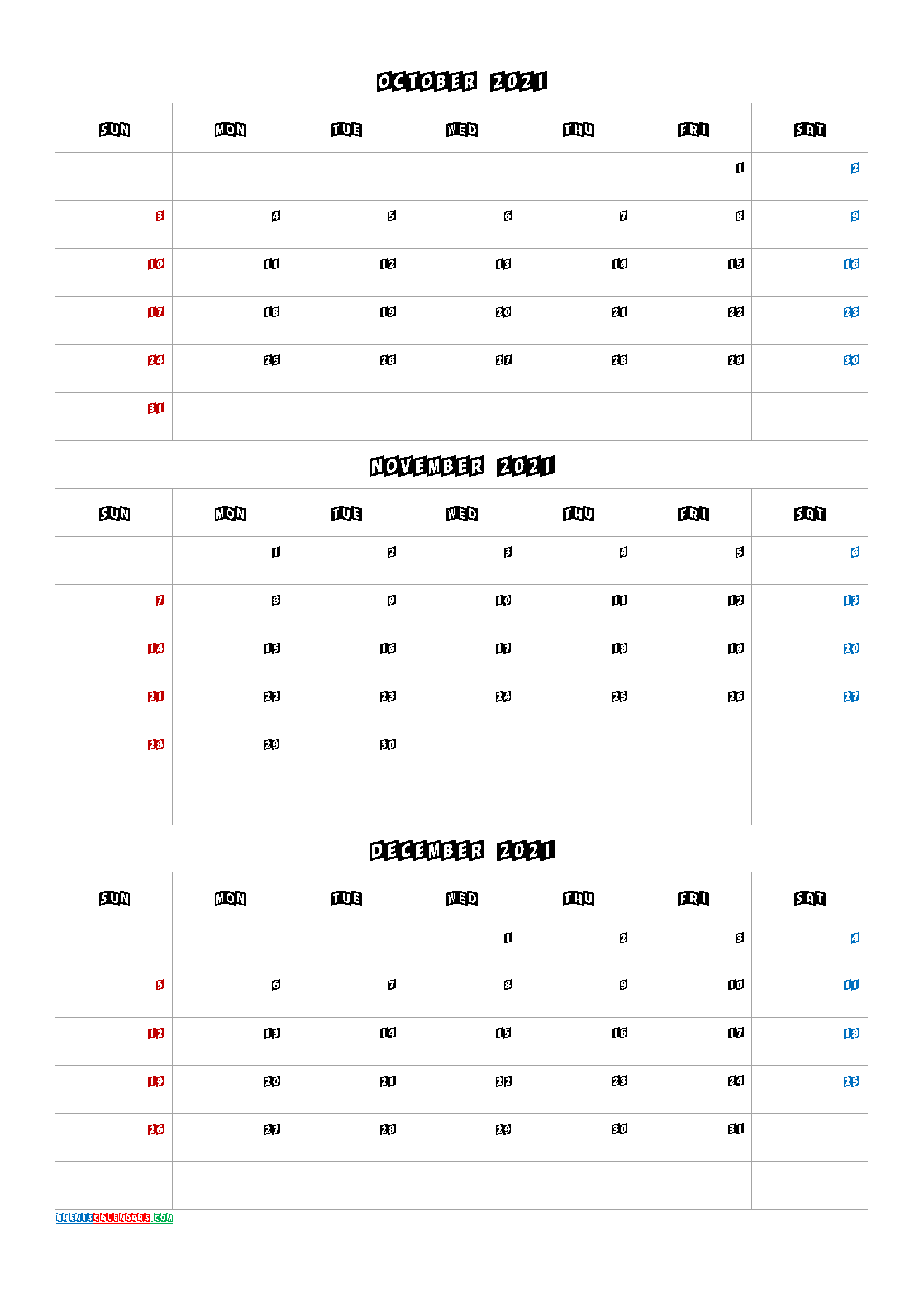 October November December 2021 Calendar PDF
