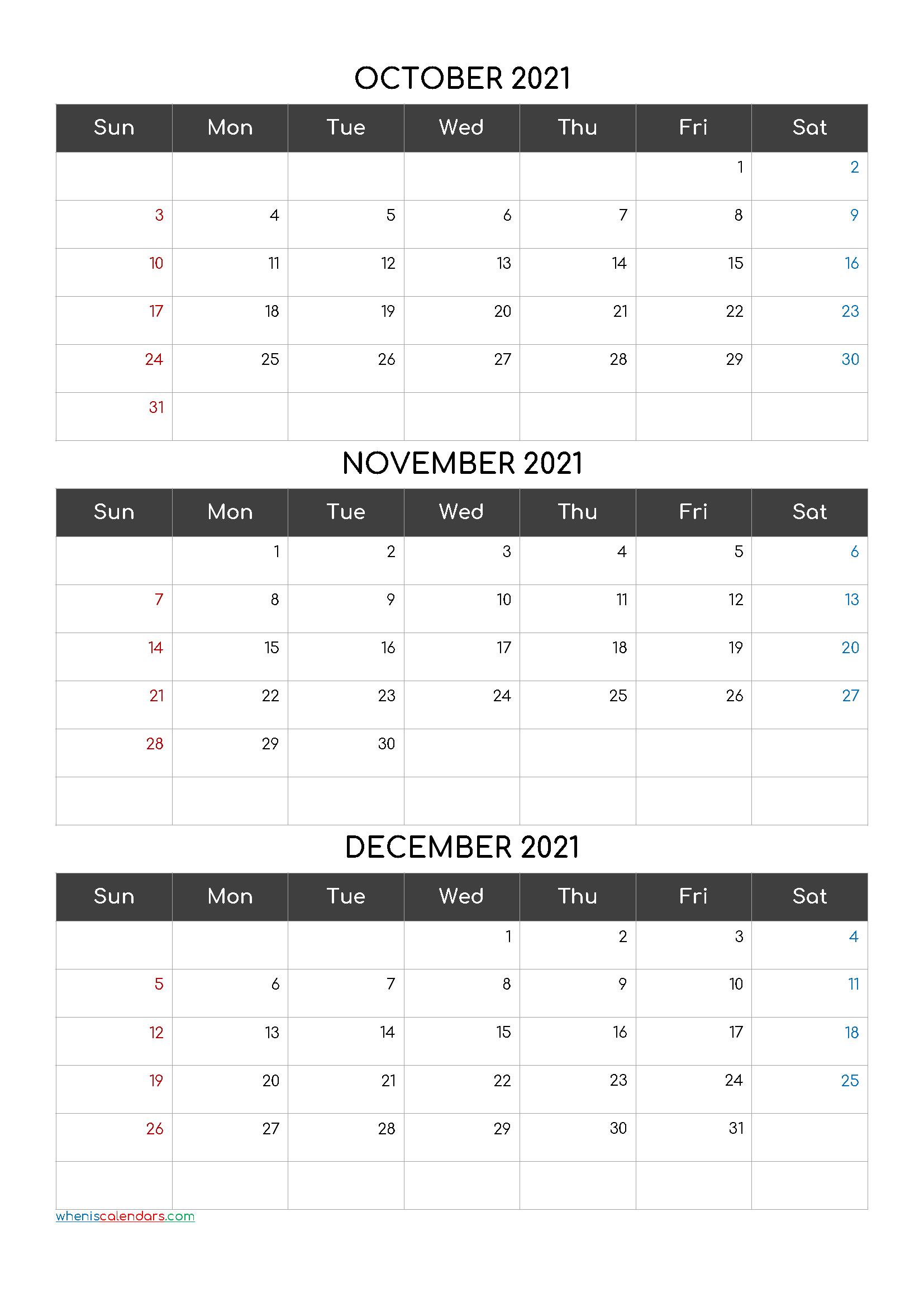 Free Calendar October November December 2021