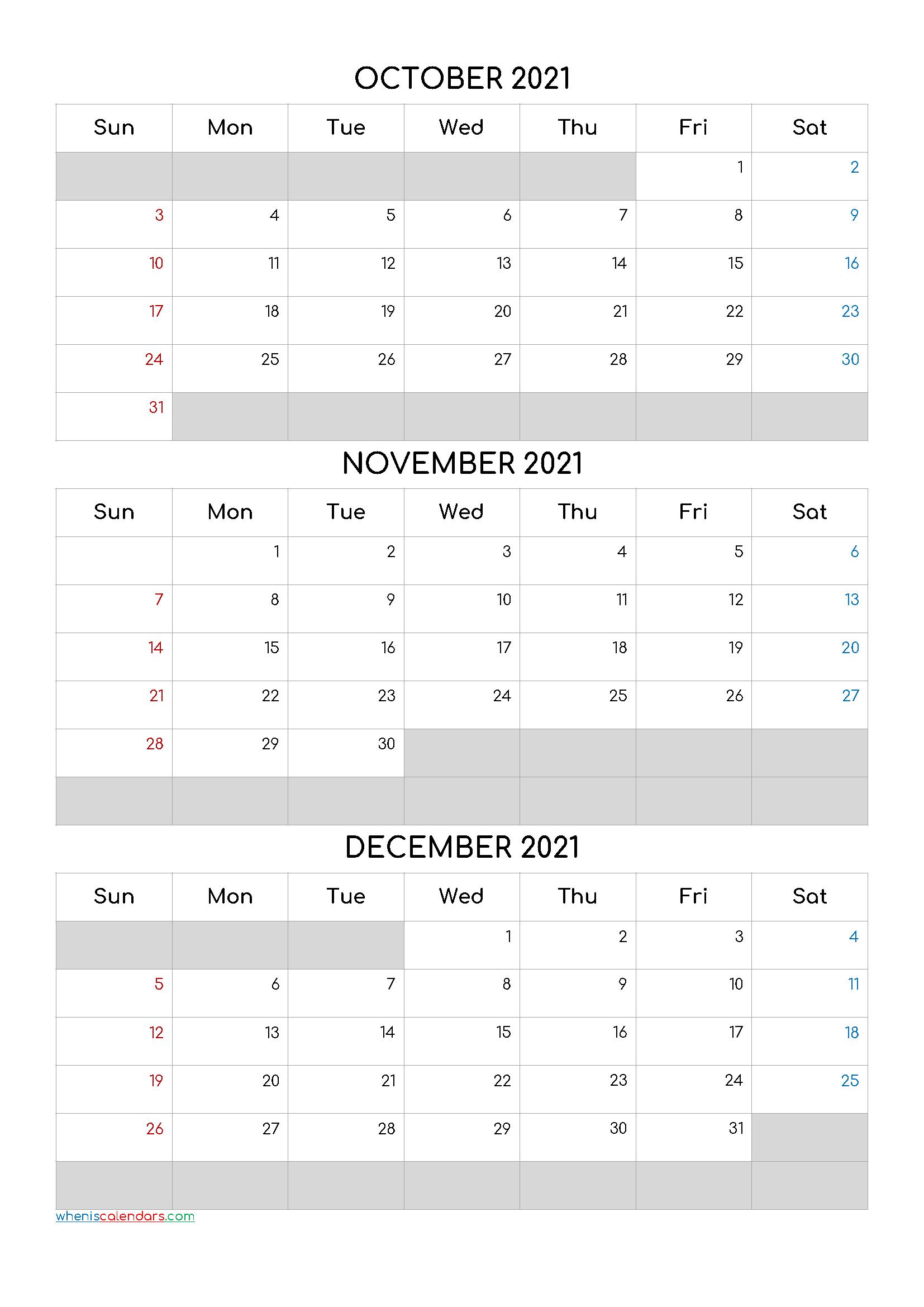 October November December 2021 Calendar Template