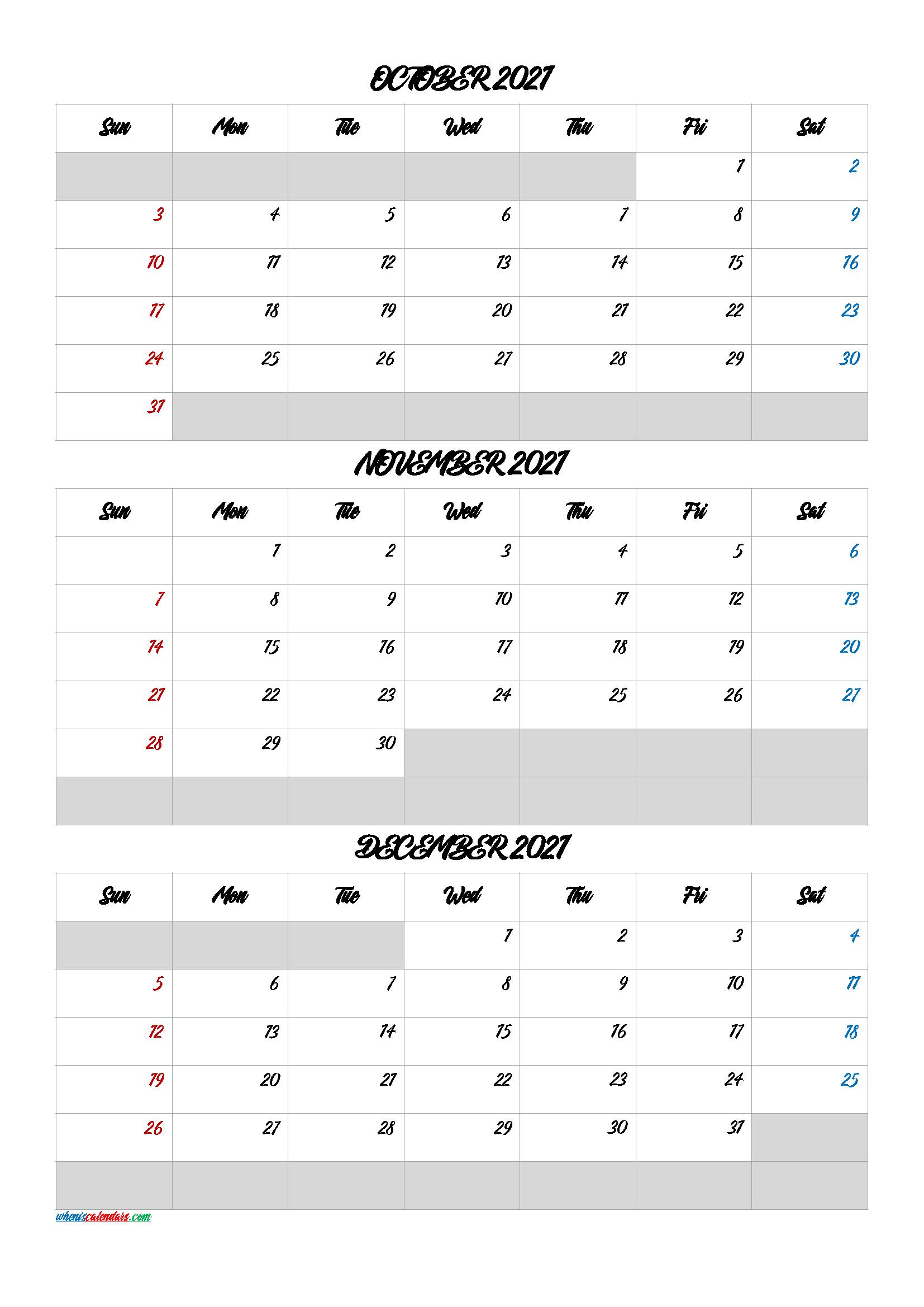 October November December 2021 Calendar