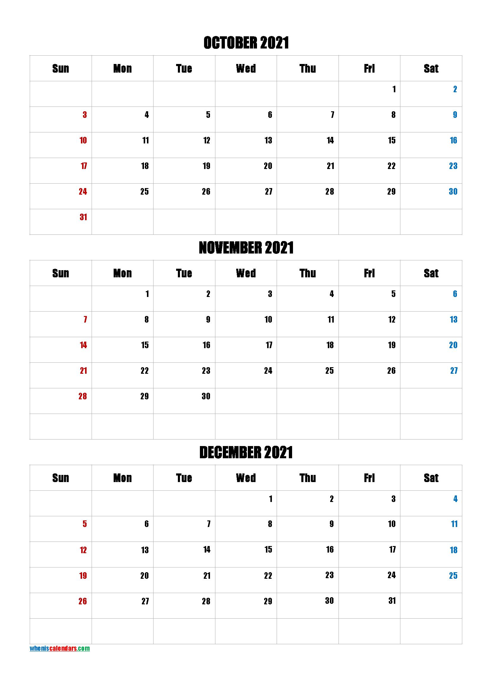 Free October November December 2021 Calendar