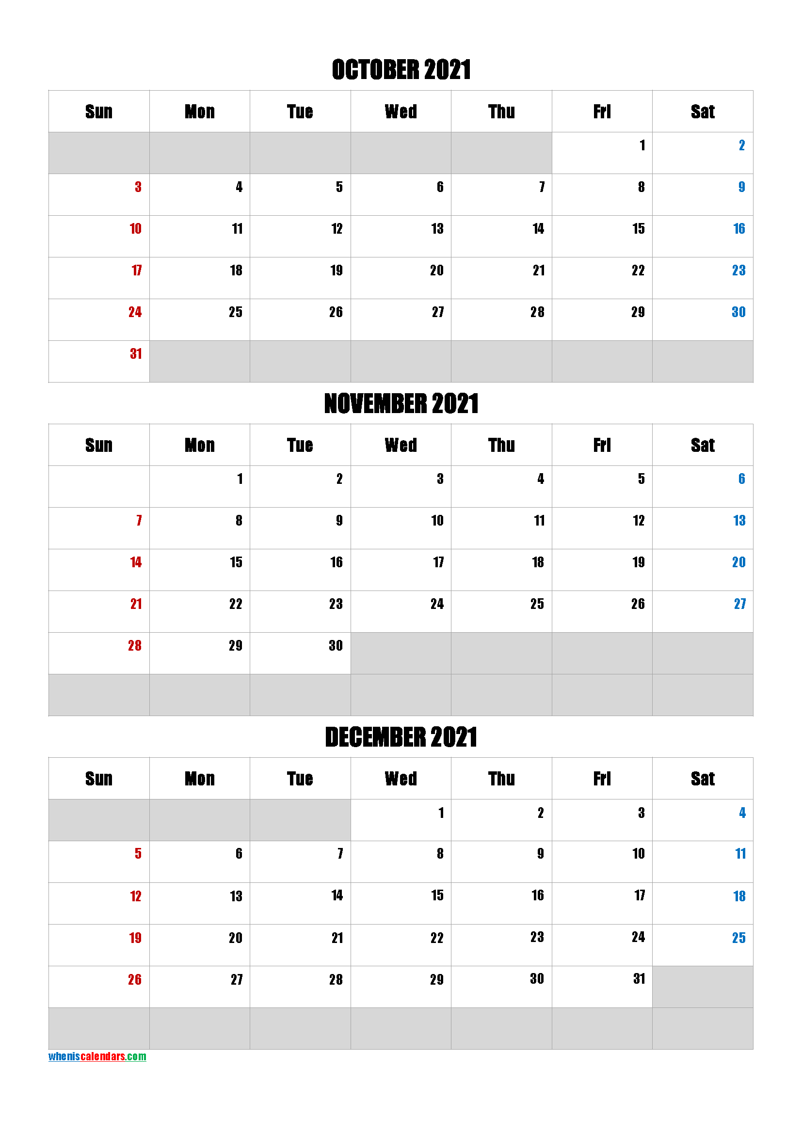 Calendar October November December 2021