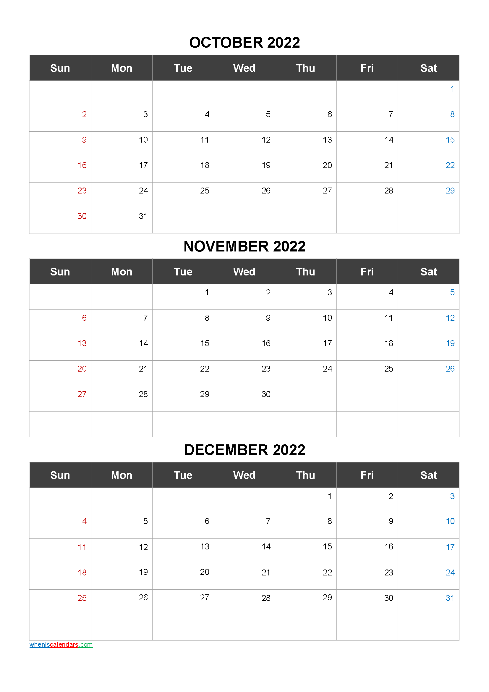 Free Printable 3 Month Calendar2022 October November December