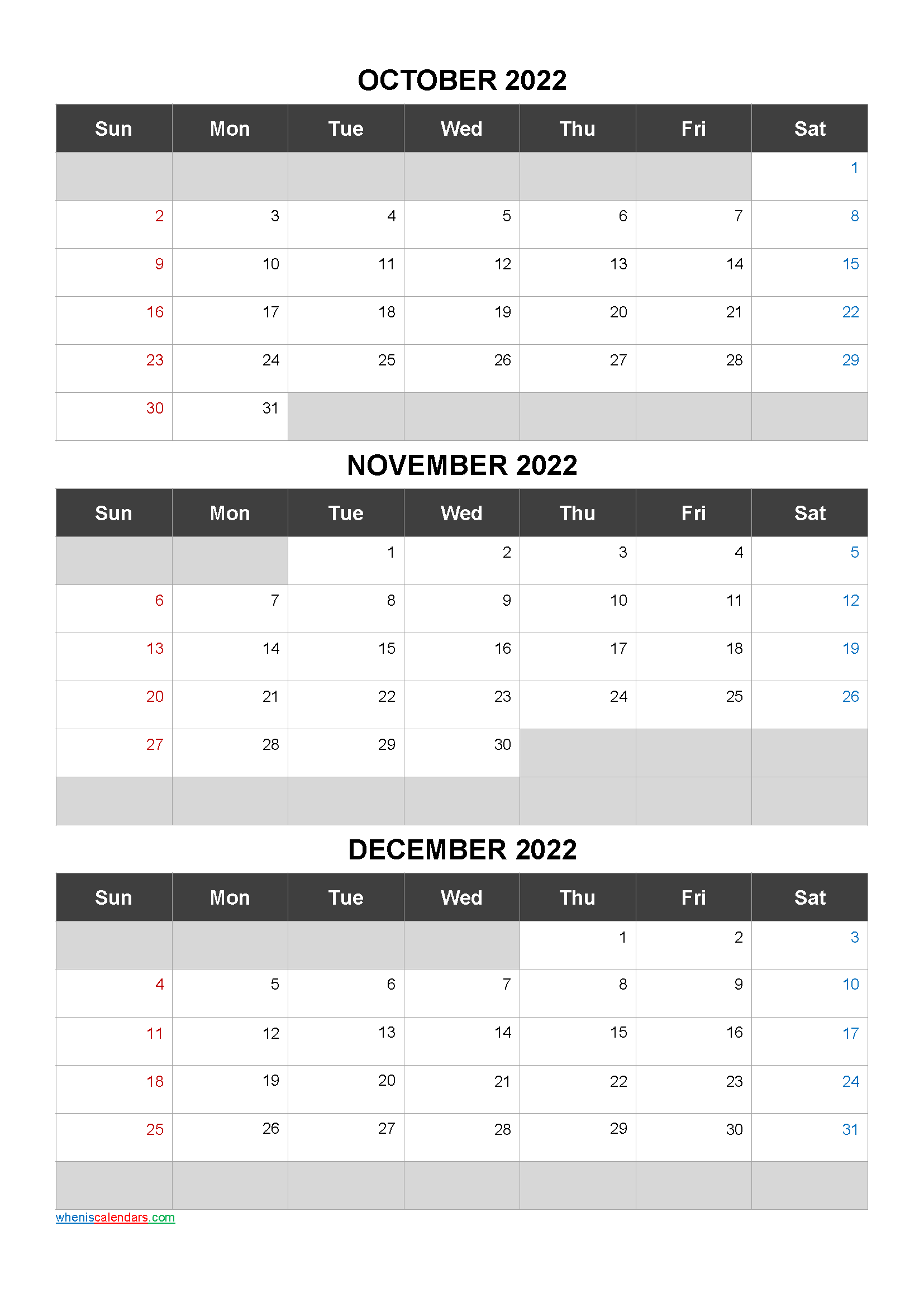 Printable Calendar October November December 2022