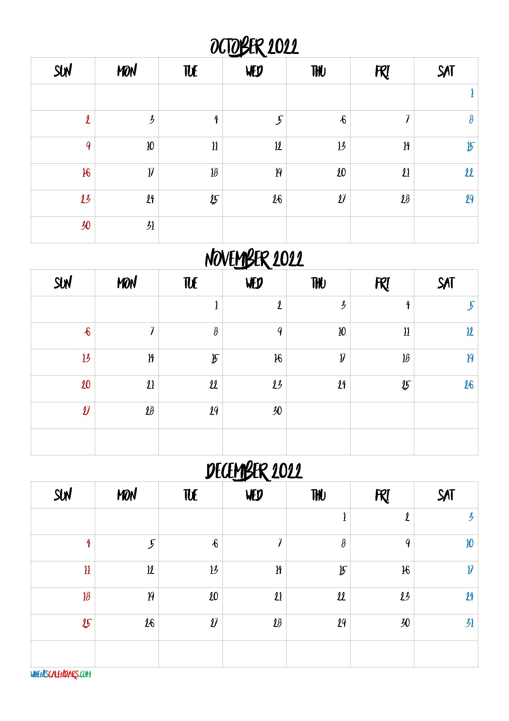 Free October November December 2022 Calendar