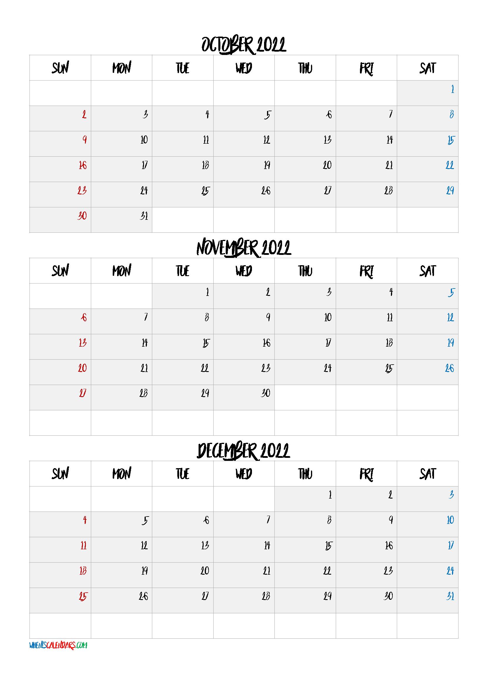 October November December 2022 Printable Calendar