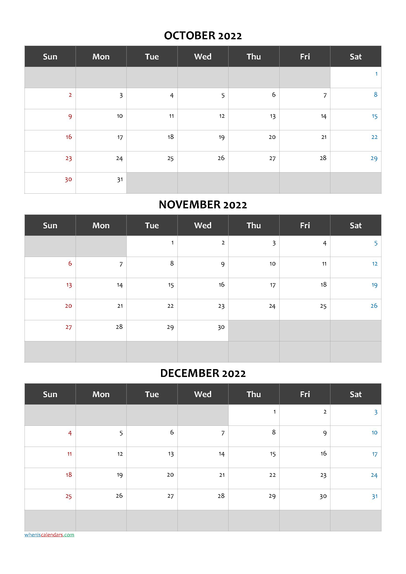October November December 2022 Free Printable 3 Month Calendar