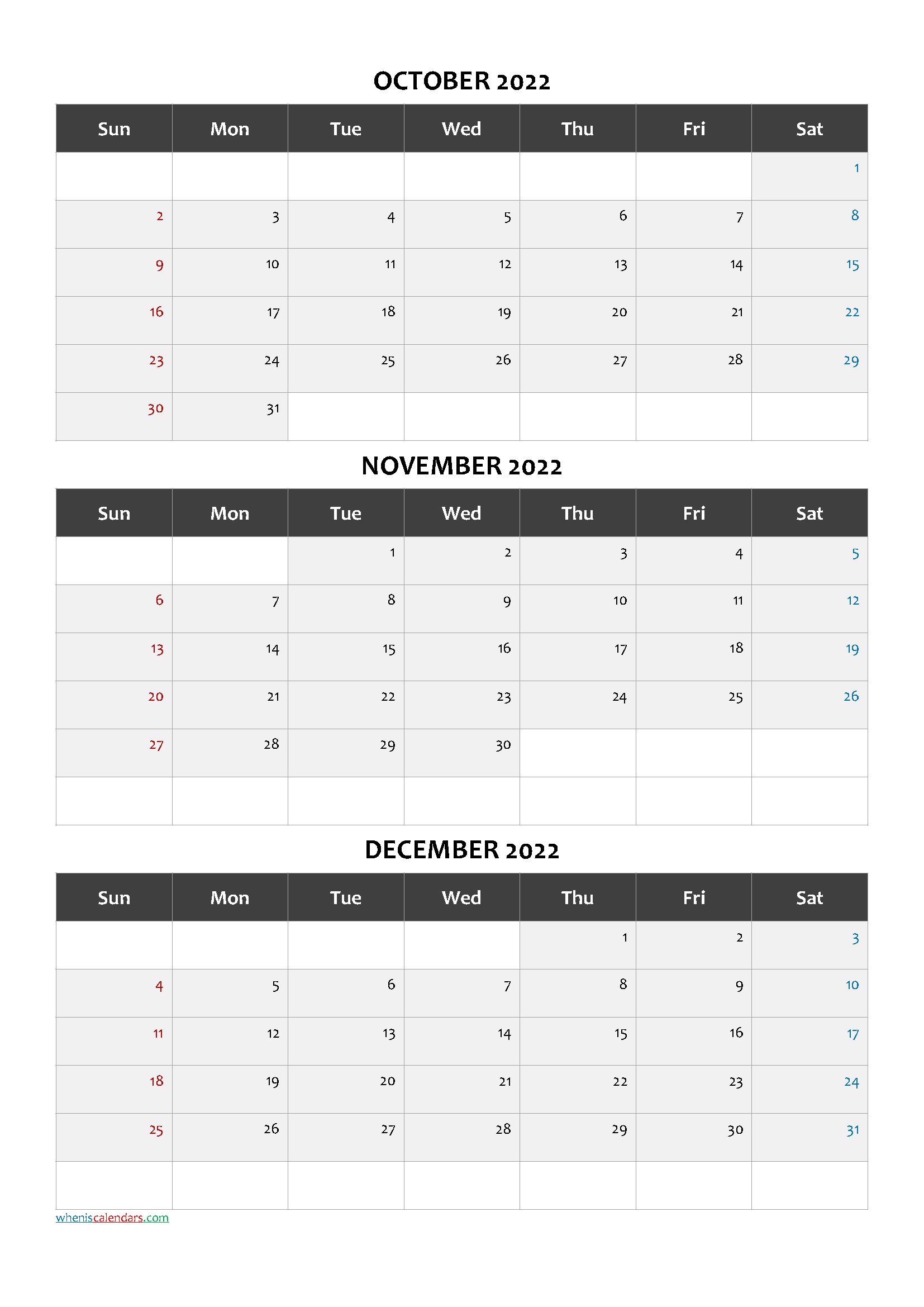 October November December 3 Month Printable Calendar 2022
