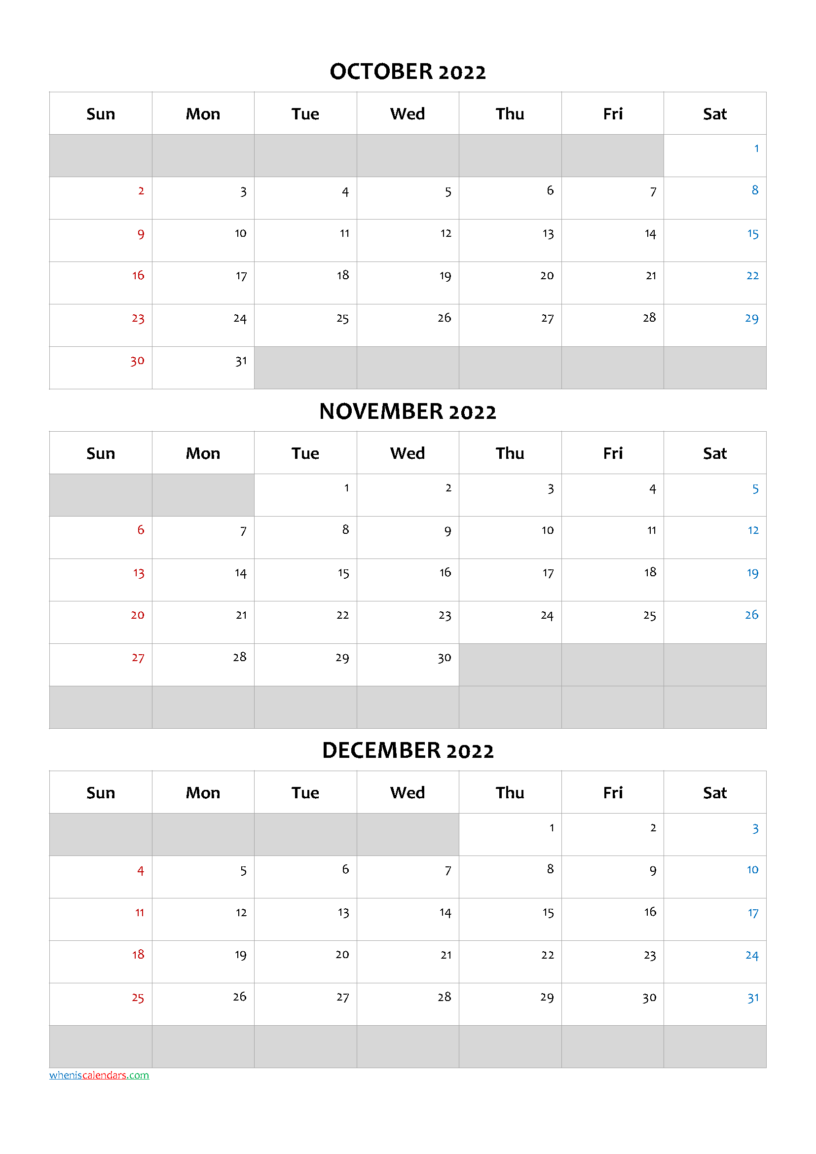 October November December 2022 Free Printable 3 Month Calendar