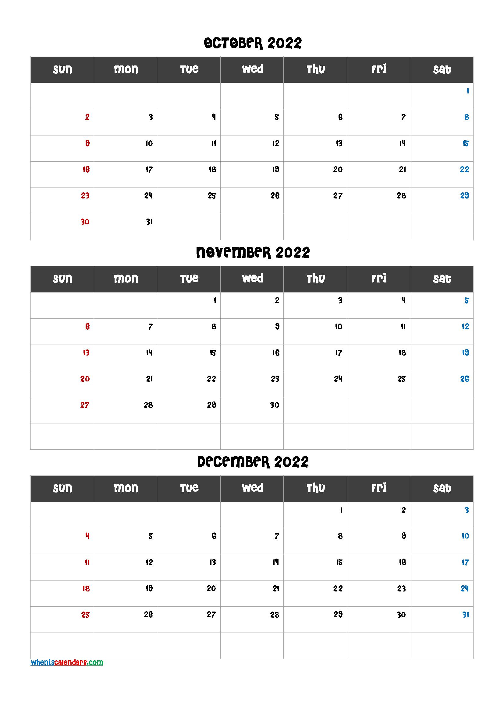 Calendar October November December 2022
