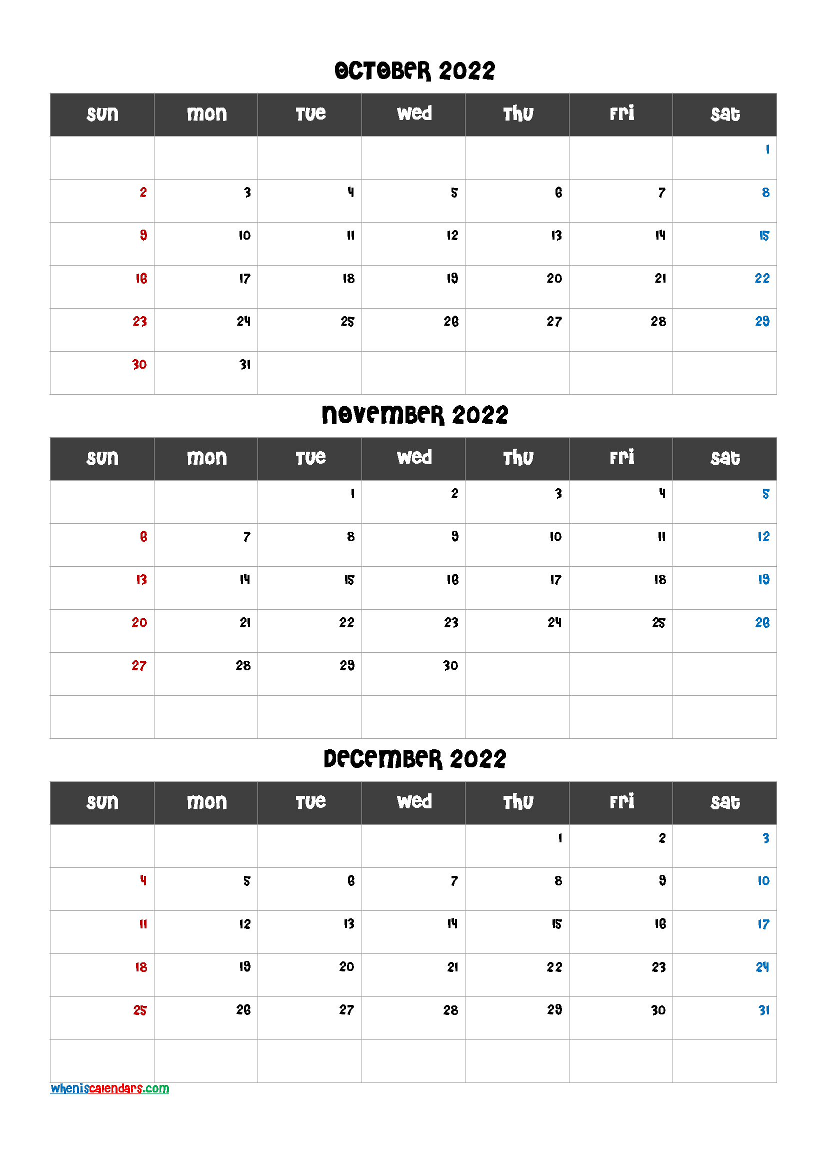 October November December 2022 Calendar Template