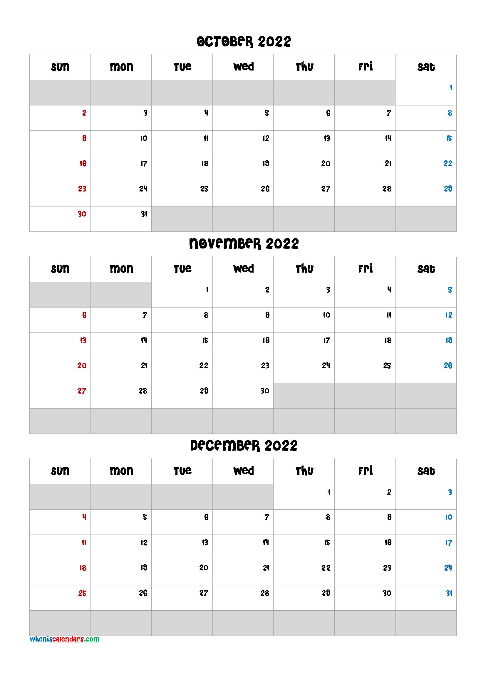 Free Calendar October November December 2022