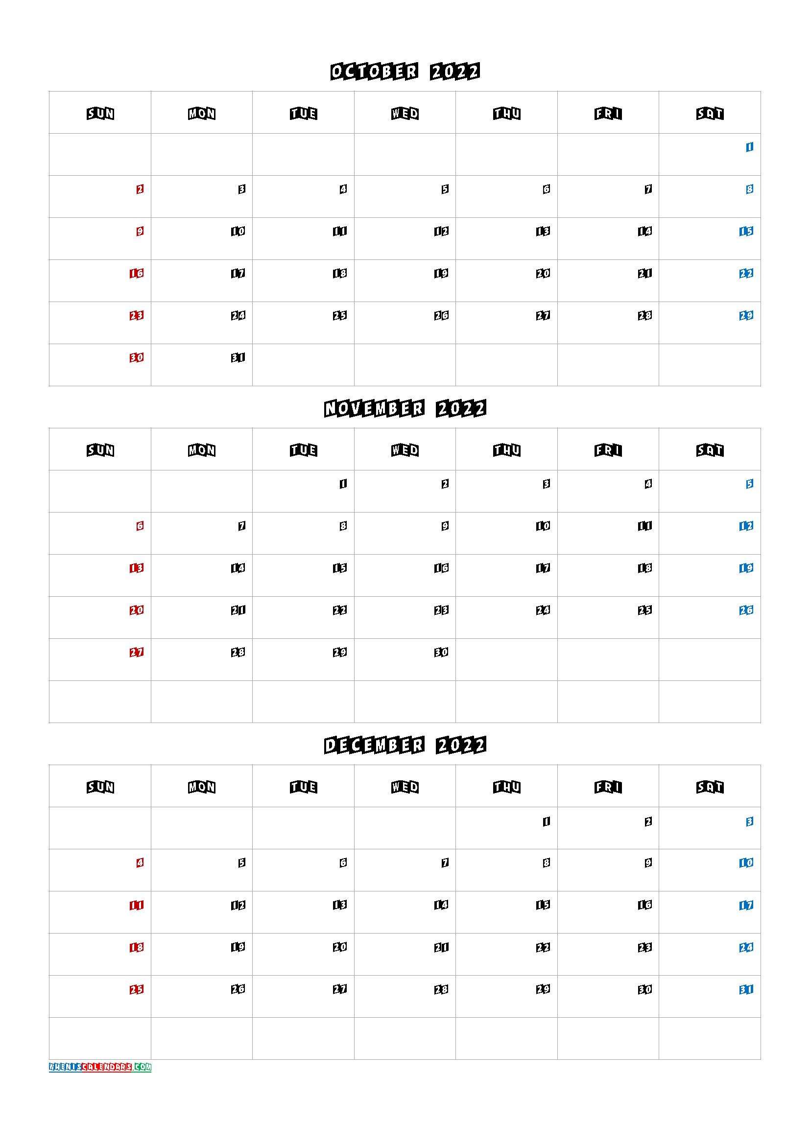 October November December 2022 Three Month Calendar Printable