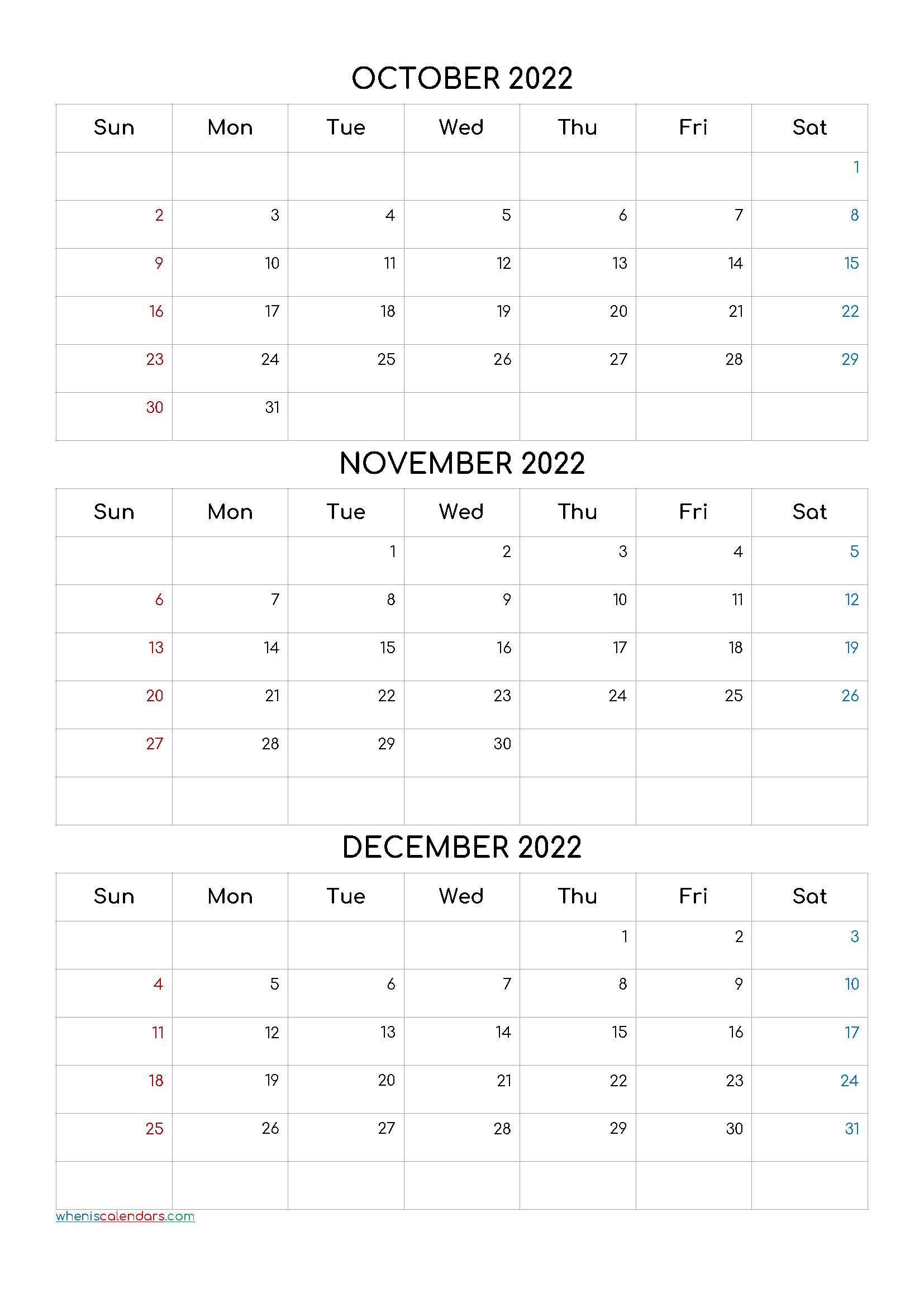 October November December 2022 Calendar Printable Free