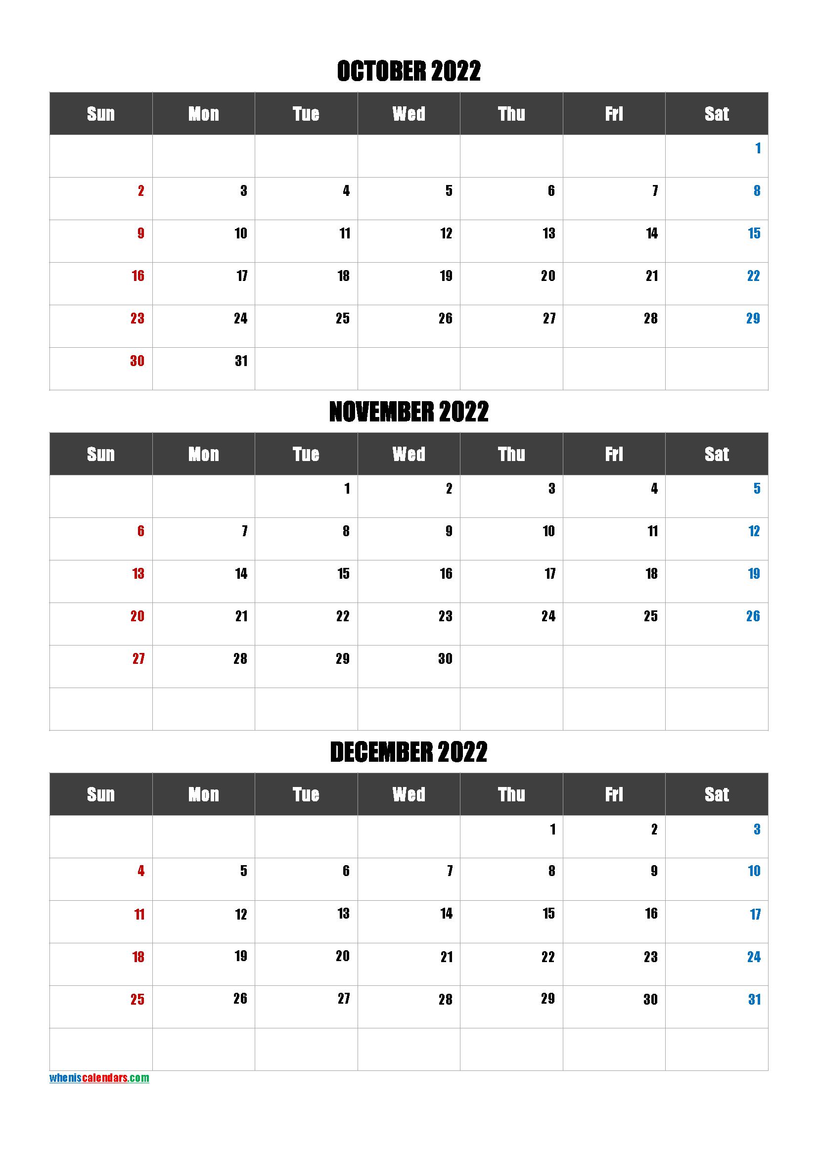Free Printable 3 Month Calendar2022 October November December