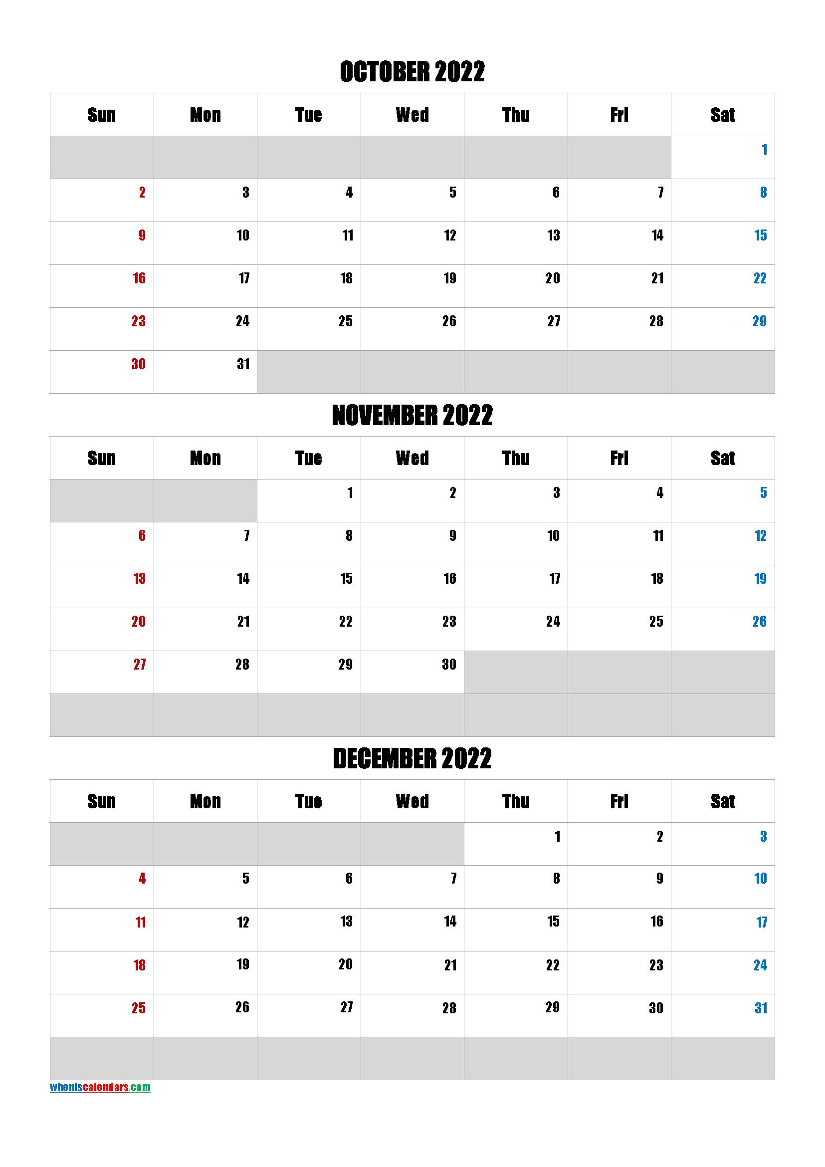 October November December 2022 Calendar