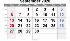 Printable September 2020 Calendar Word