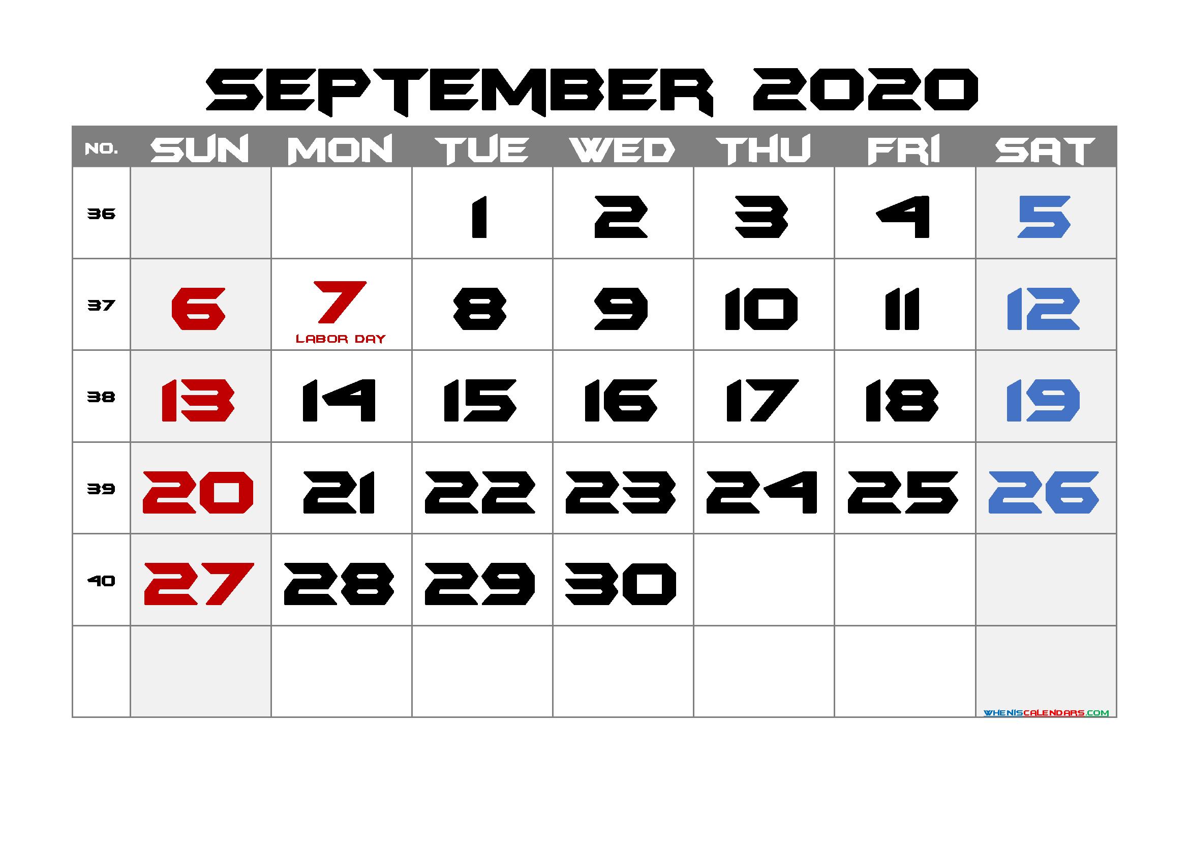 Free Printable September 2020 Calendar