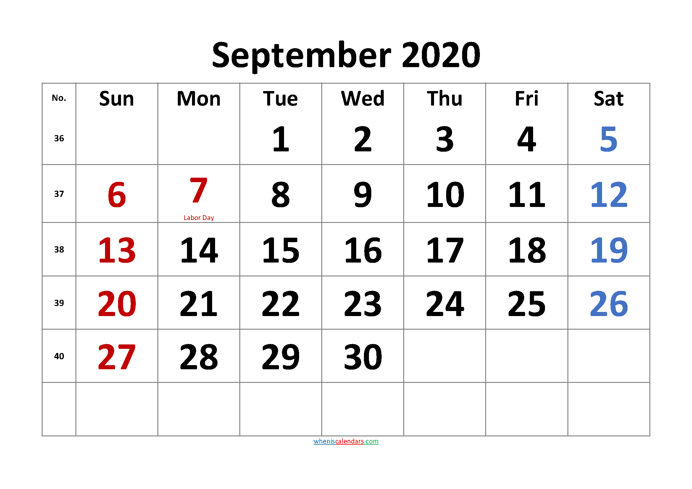 Free Printable Coloring Calendar 2020 September