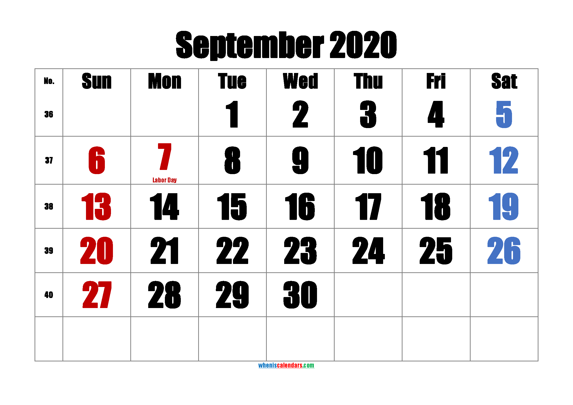Printable SEPTEMBER 2020 Calendar with Holidays