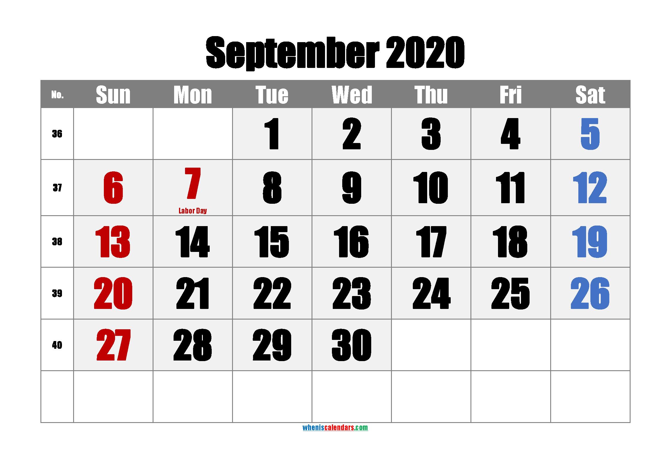 SEPTEMBER 2020 Printable Calendar with Holidays