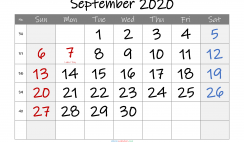 Printable September 2020 Calendar with Holidays