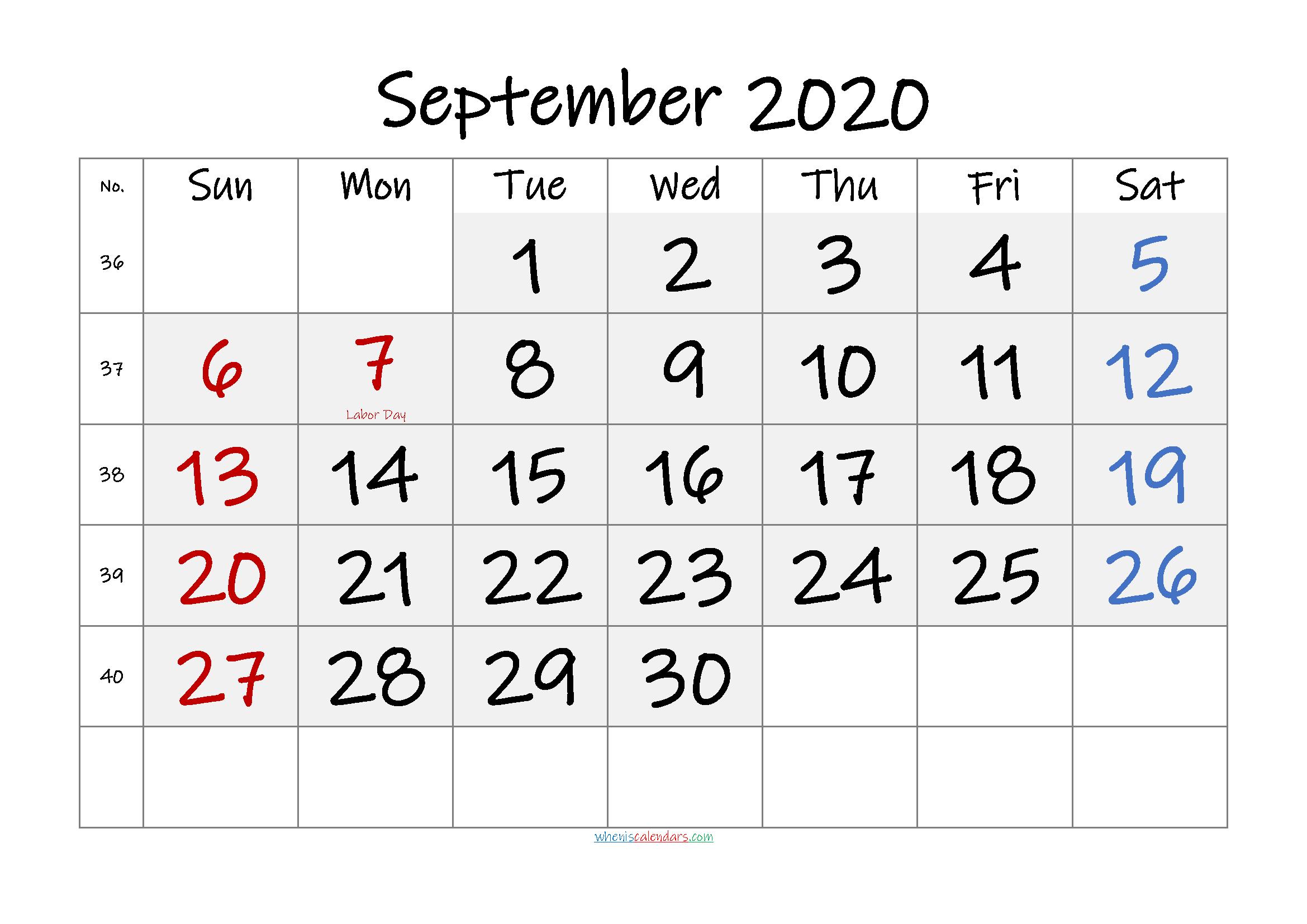 Free Printable September 2020 Calendar with Holidays