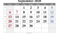 September 2020 Printable Calendar with Holidays