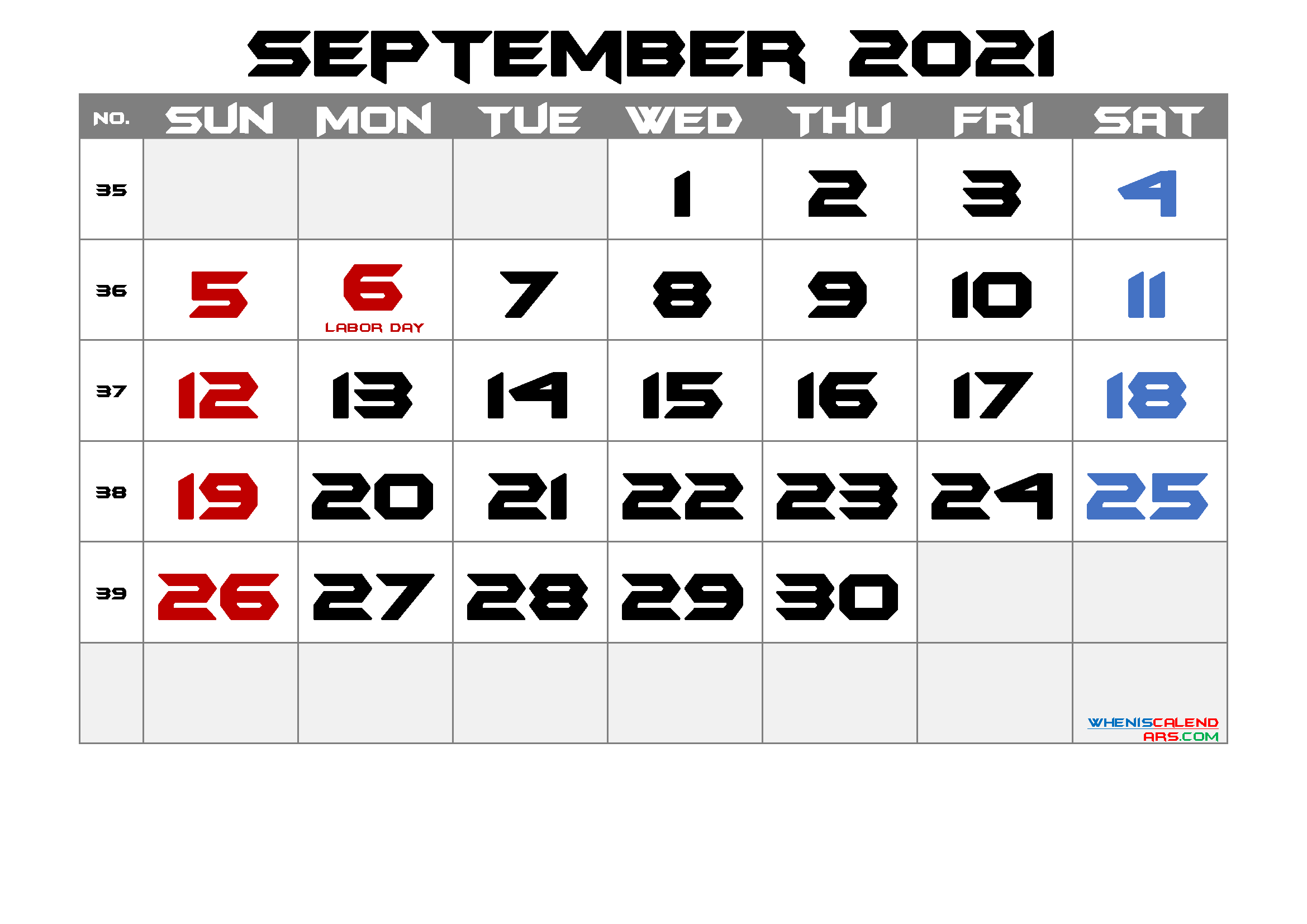 September 2021 Free Printable Calendar with Holidays