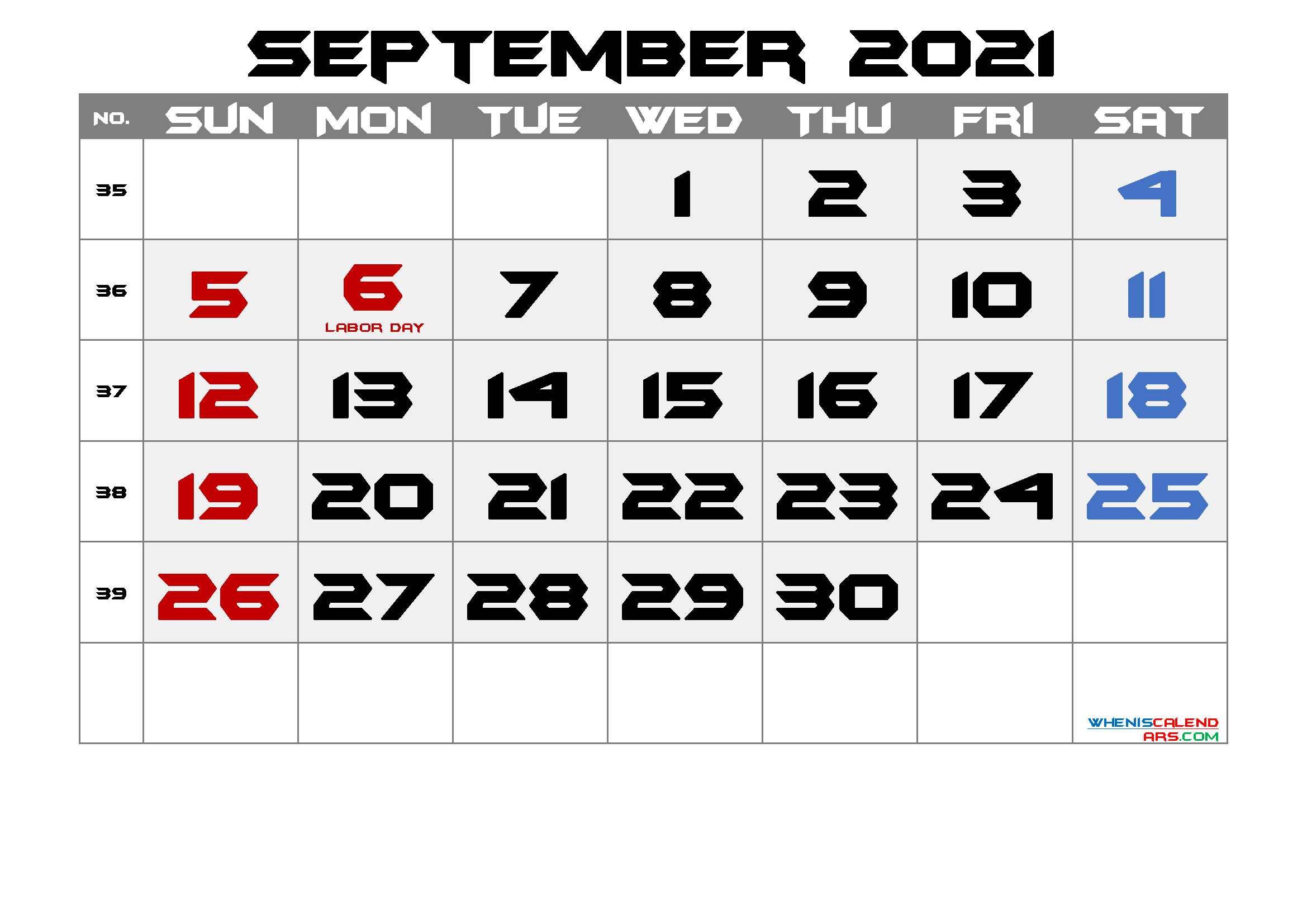 Printable September 2021 Calendar with Holidays