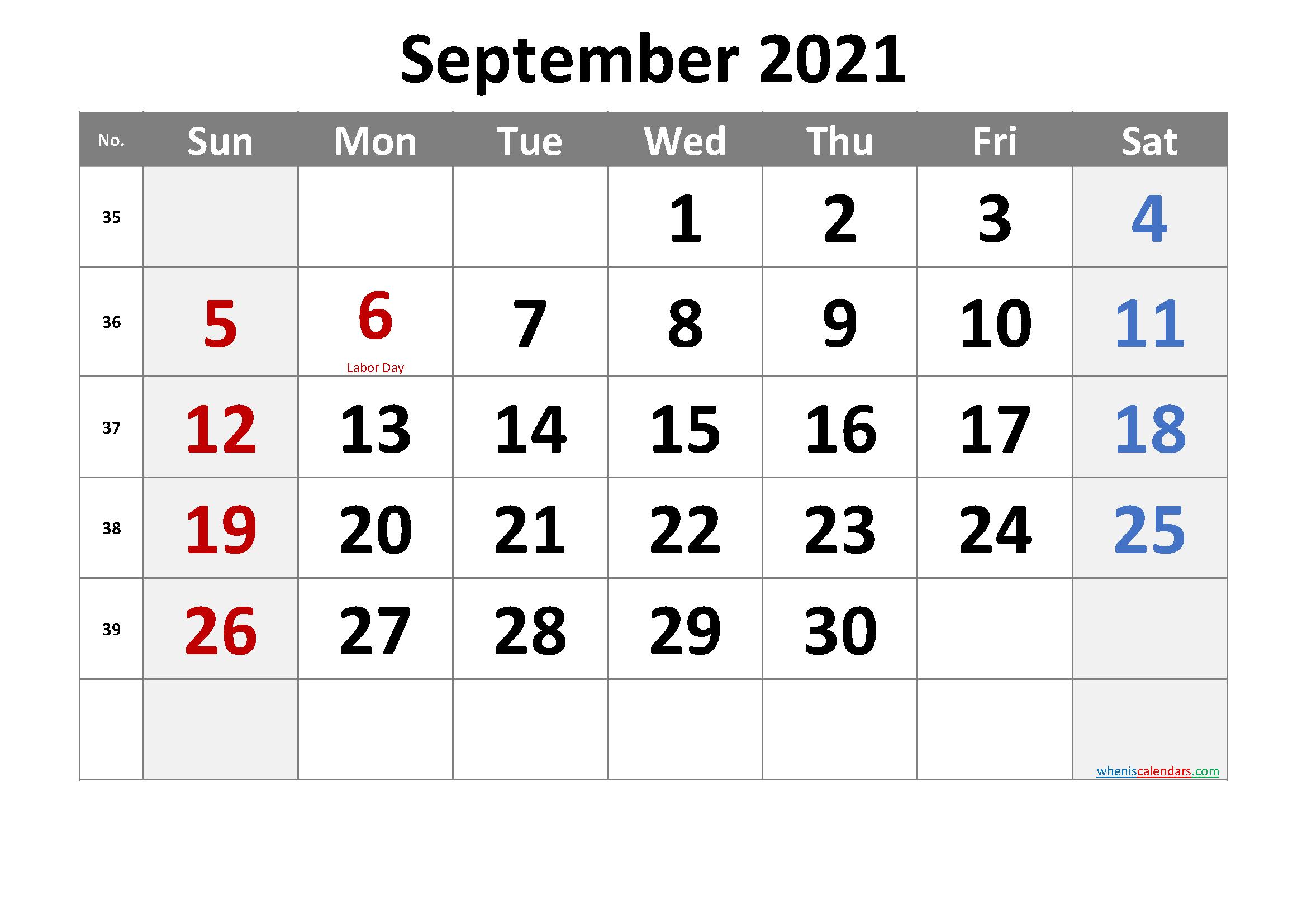 Free September 2021 Monthly Calendar Template Word