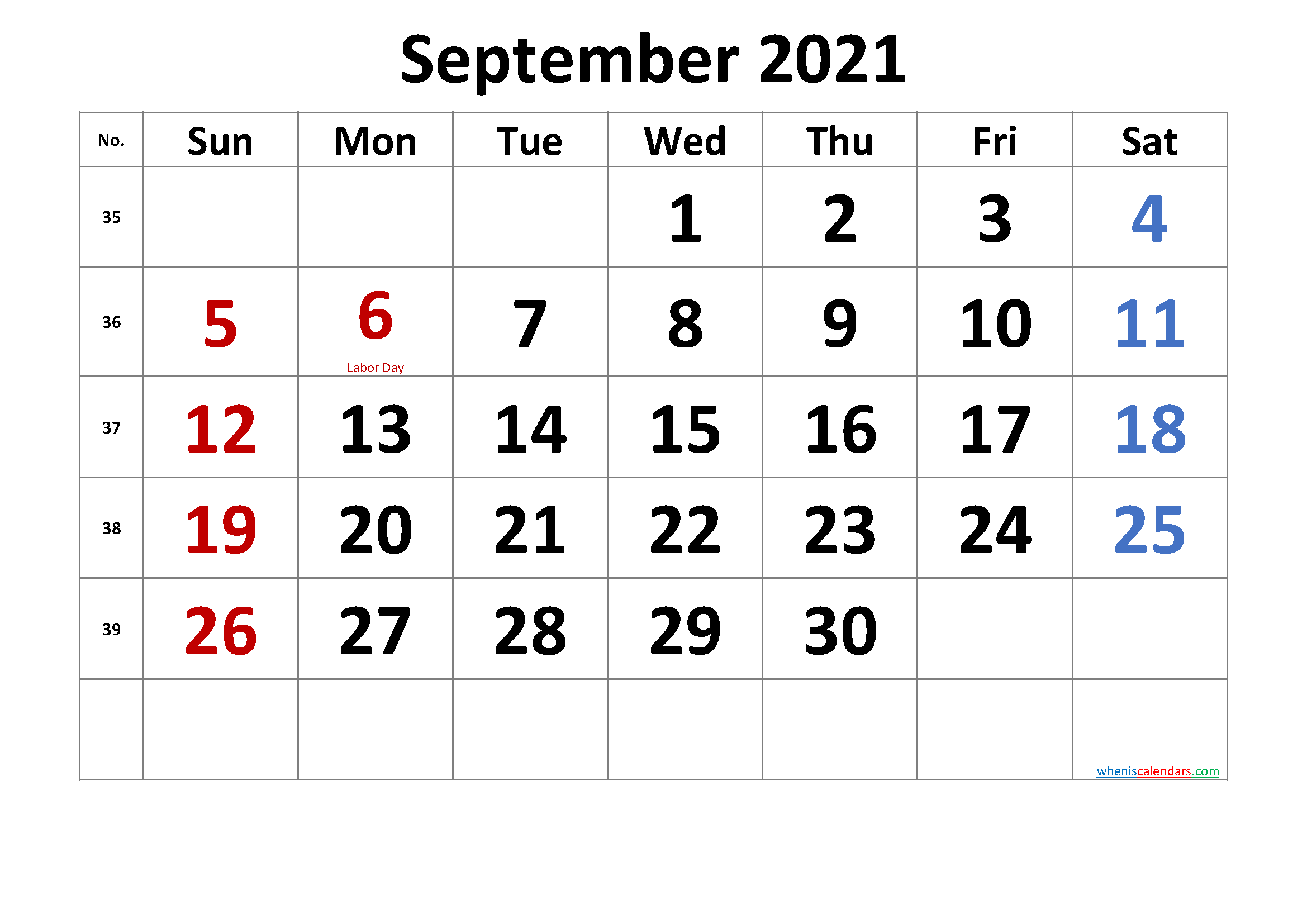 Printable September 2021 Calendar with Holidays - Free ...