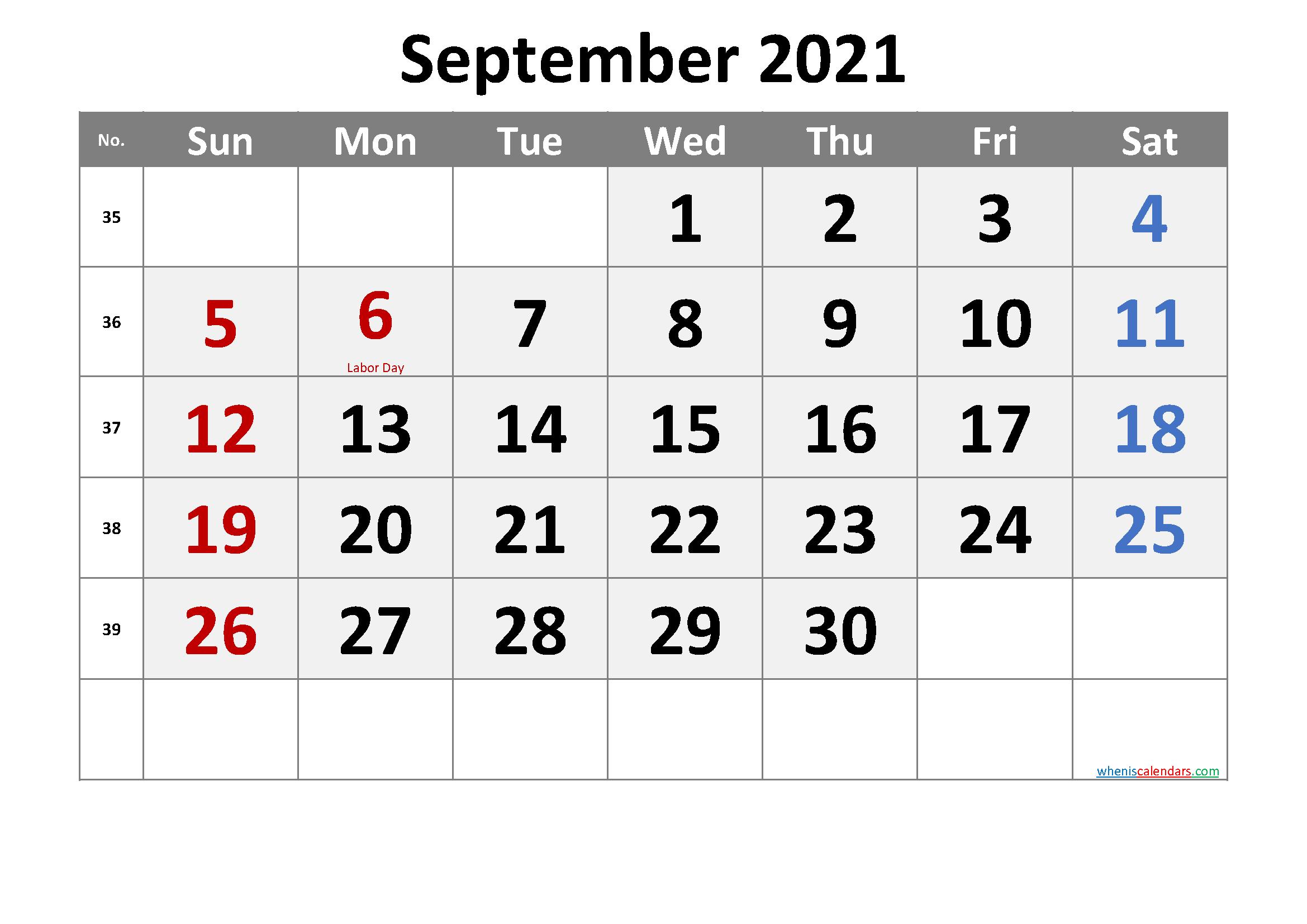 SEPTEMBER 2021 Printable Calendar with Holidays