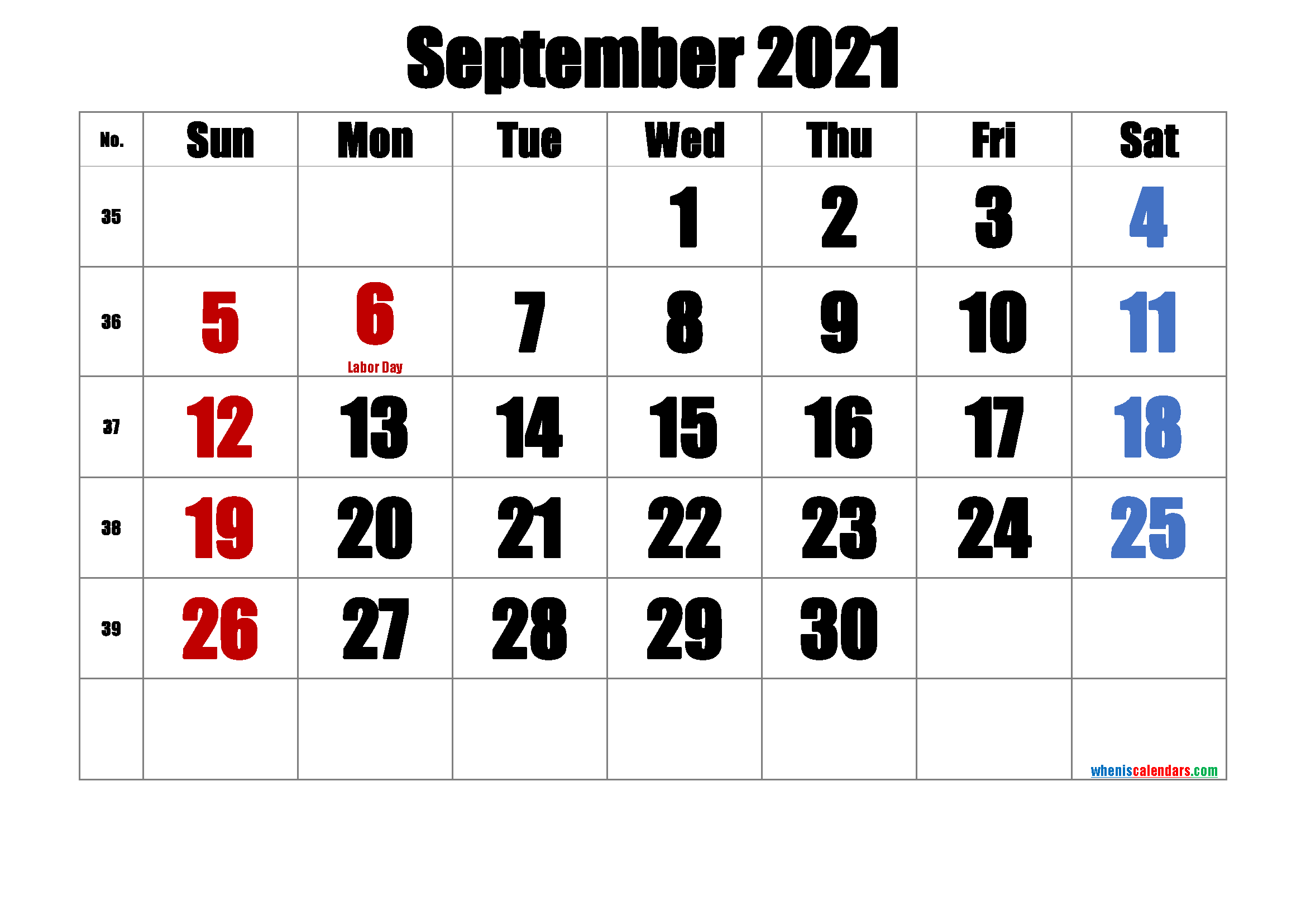 Printable SEPTEMBER 2021 Calendar with Holidays