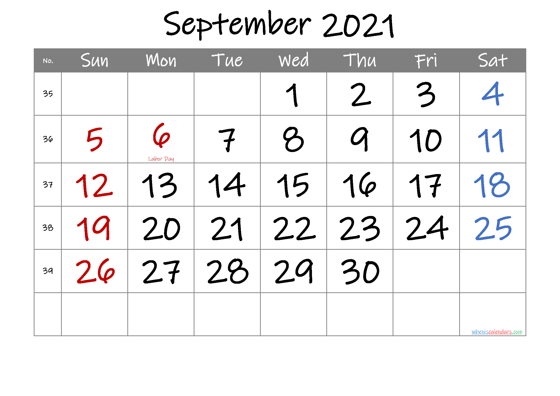 Free September 2021 Printable Calendar with Holidays