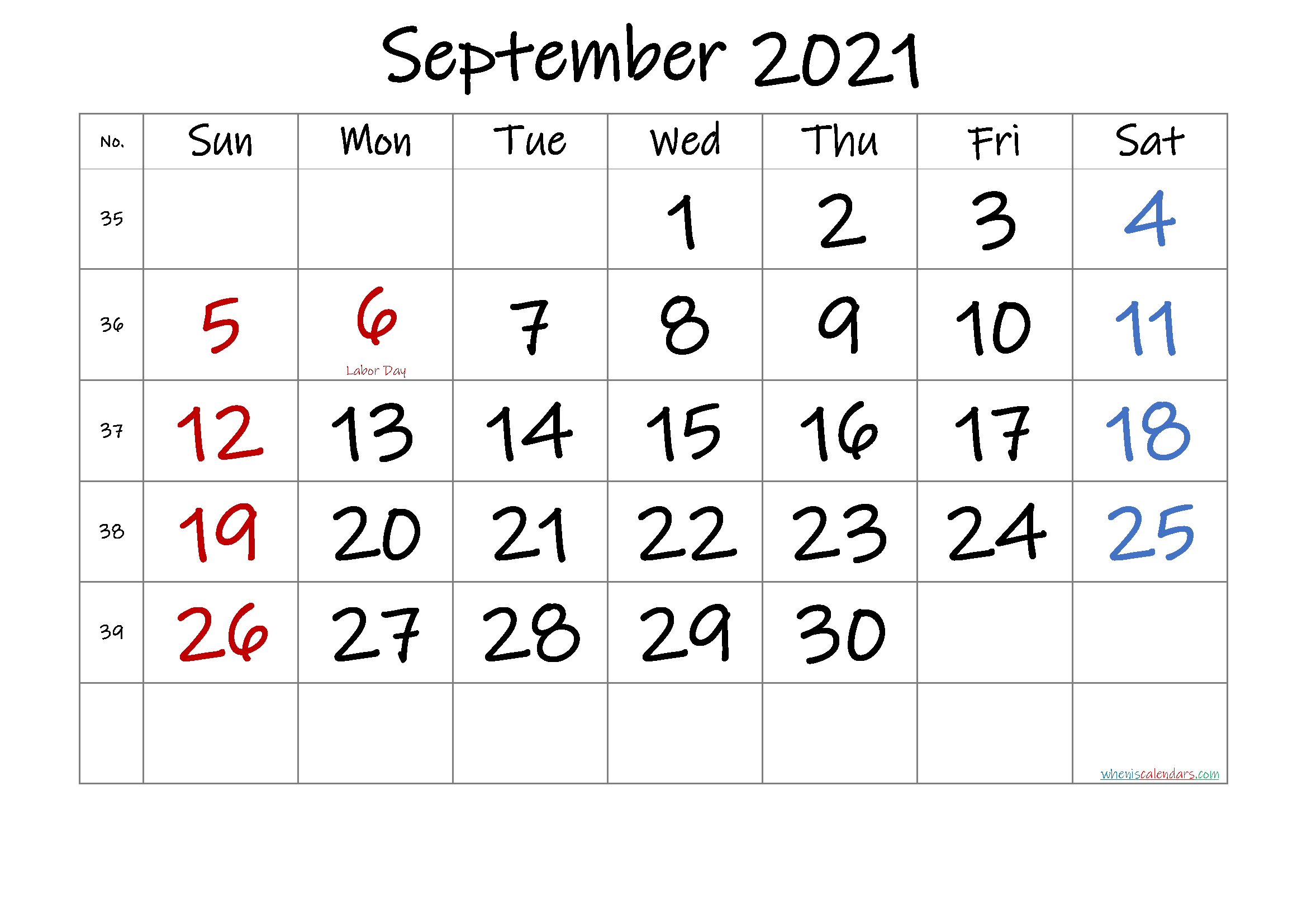SEPTEMBER 2021 Printable Calendar with Holidays