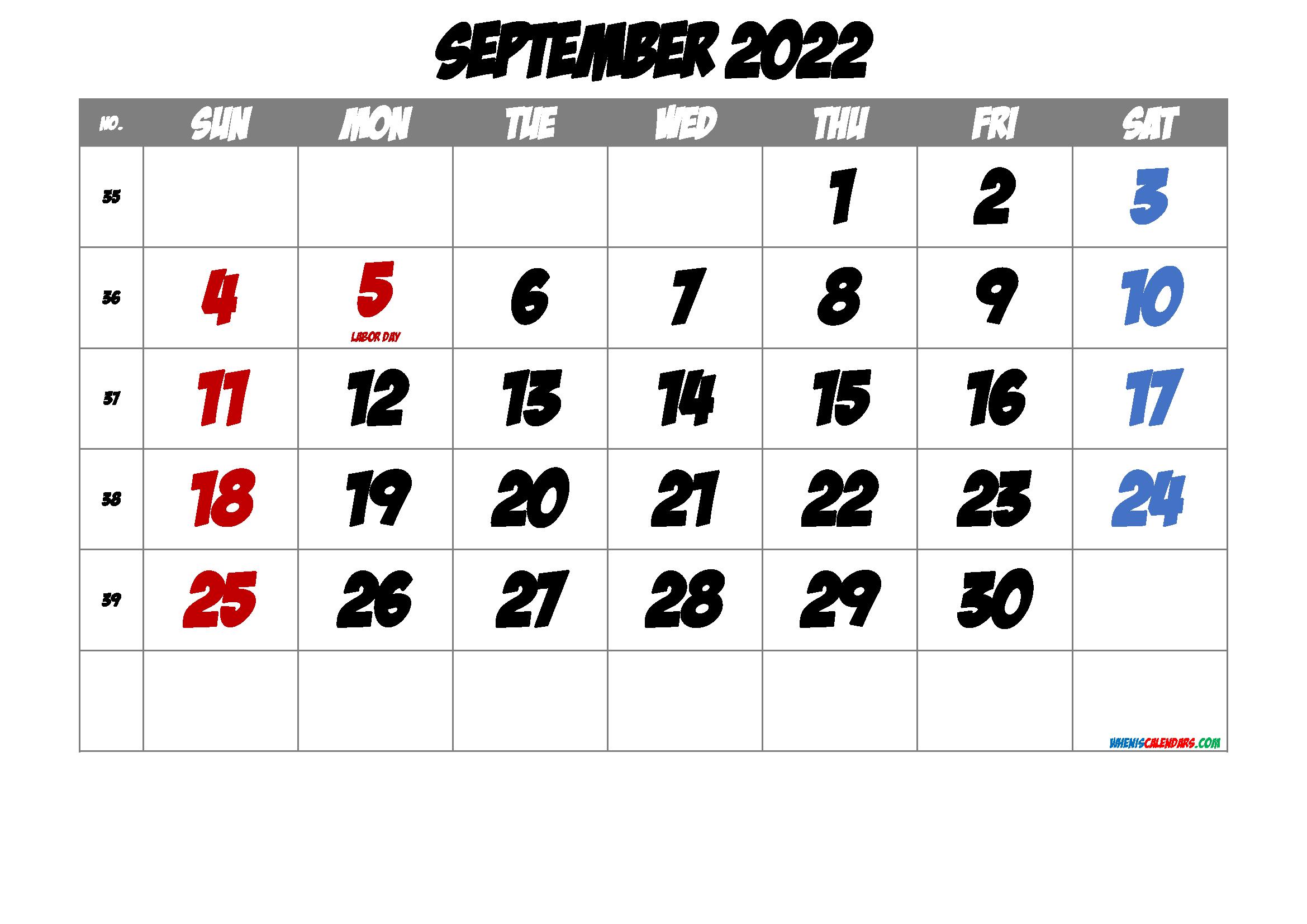 Free Printable Calendar September 2022
