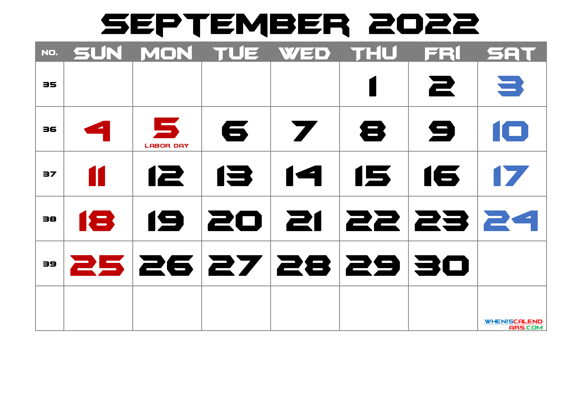 Free Printable SEPTEMBER 2022 Calendar with Holidays