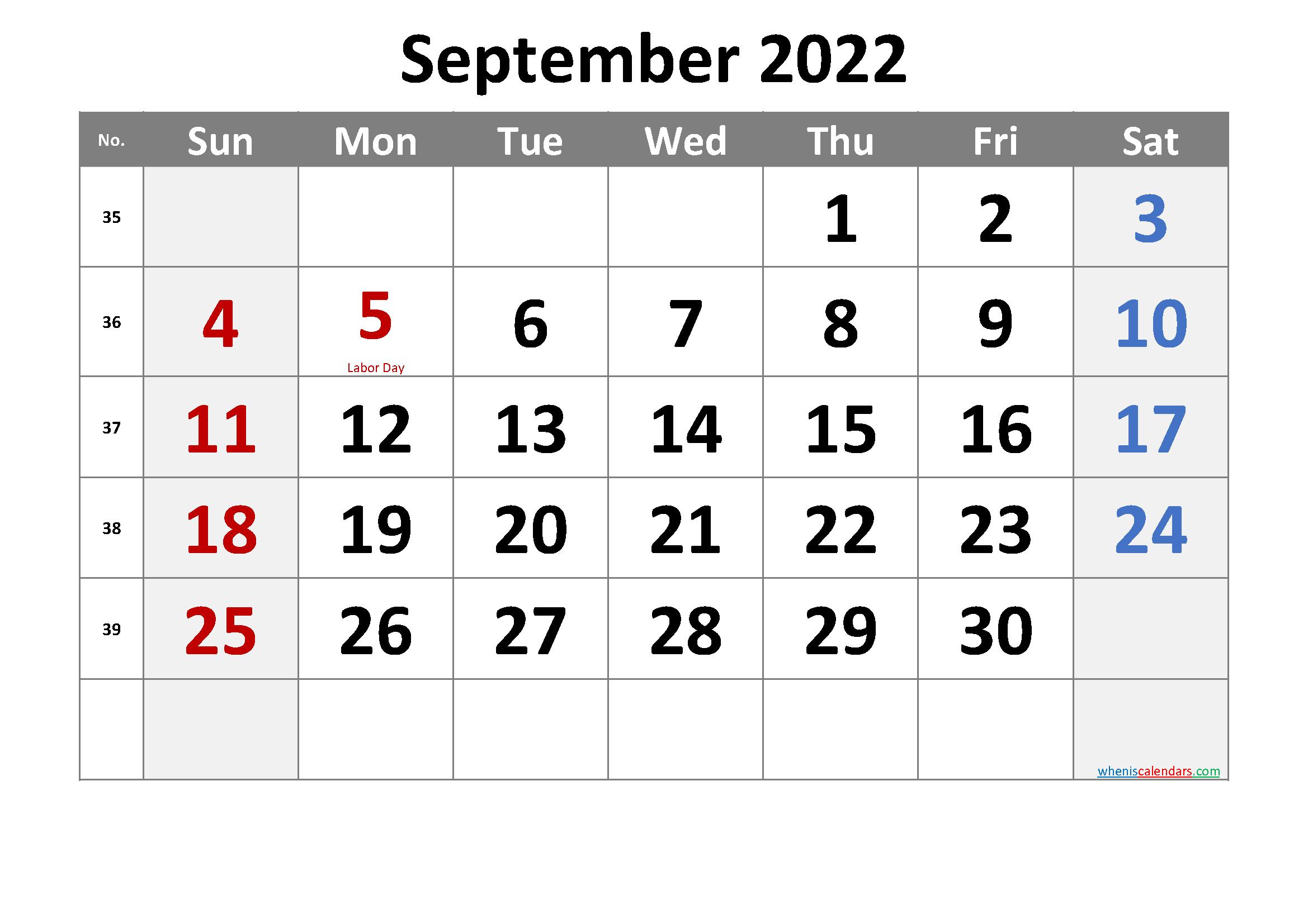 SEPTEMBER 2022 Printable Calendar with Holidays