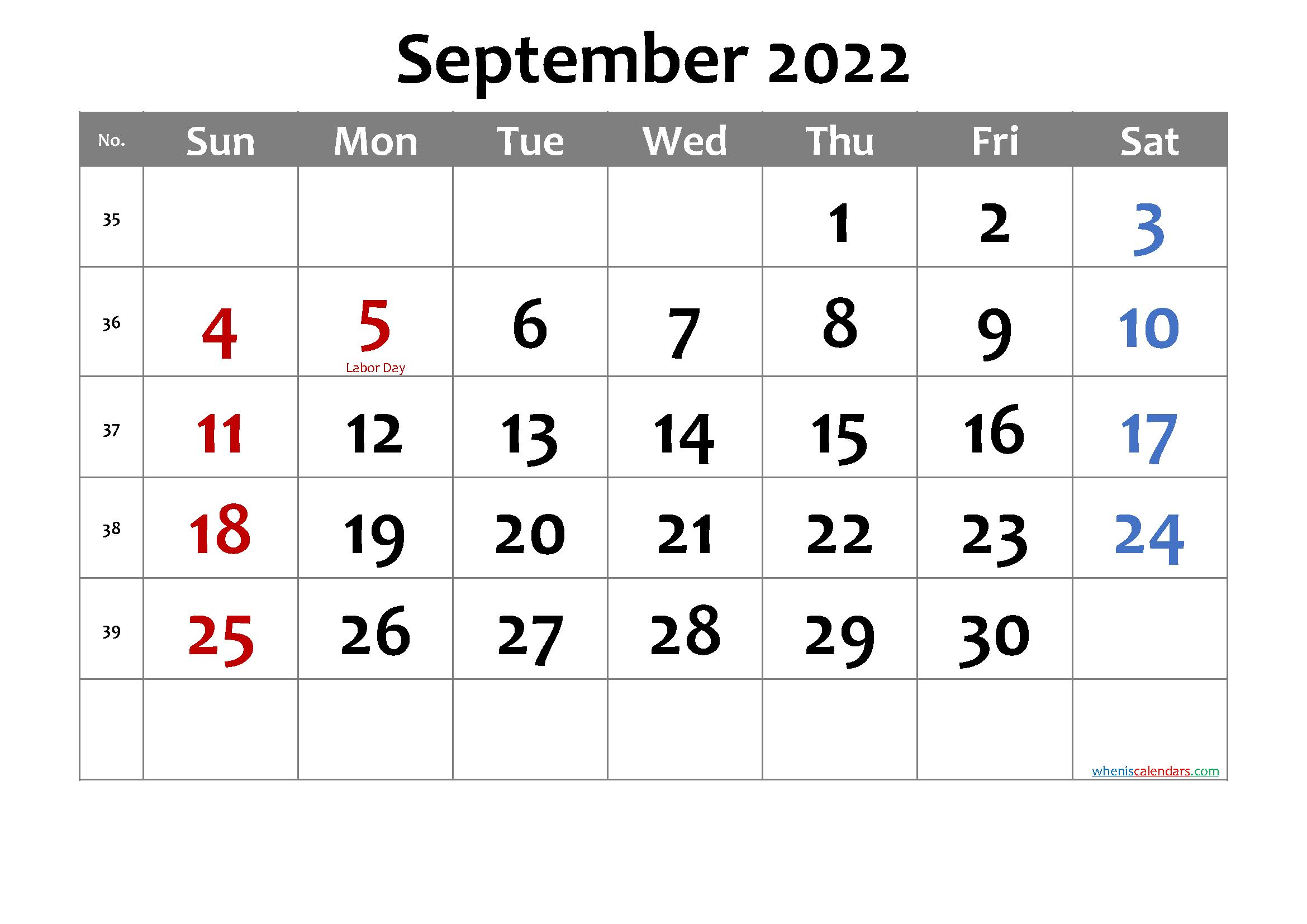 Free Printable September 2022 Calendar with Holidays