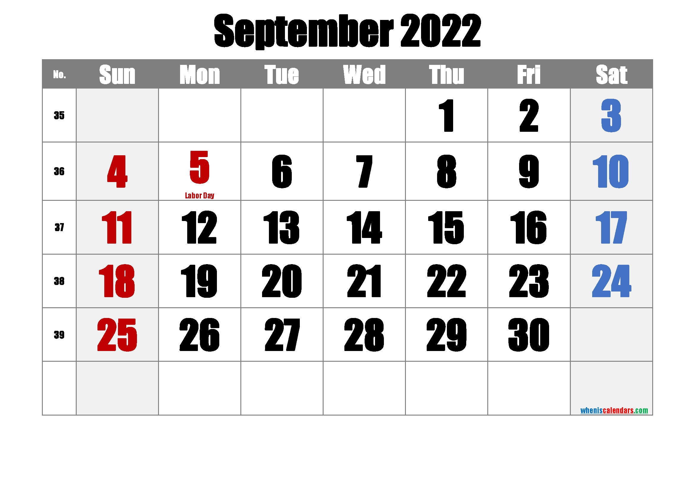 SEPTEMBER 2022 Printable Calendar with Holidays