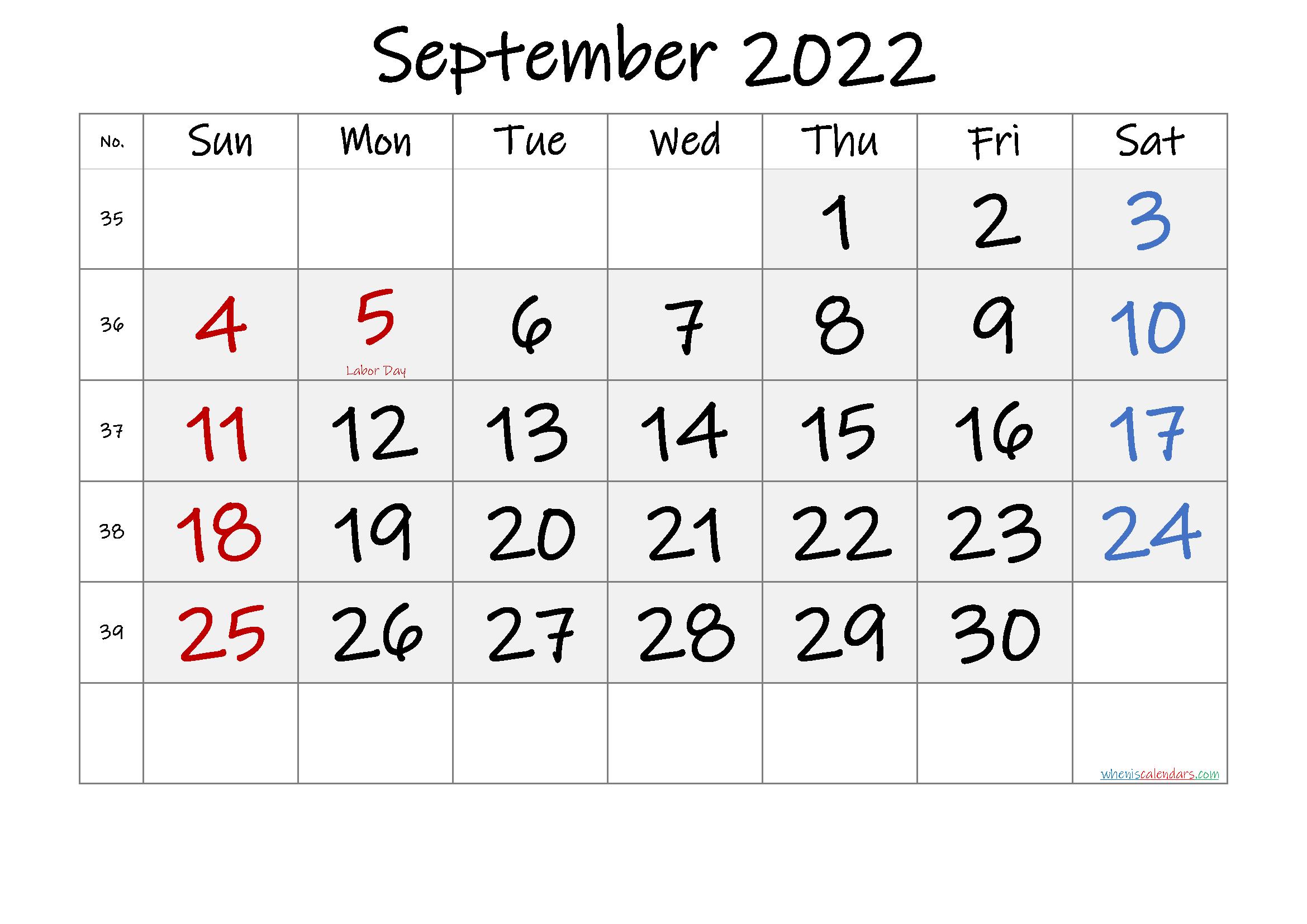 Free September 2022 Monthly Calendar PDF
