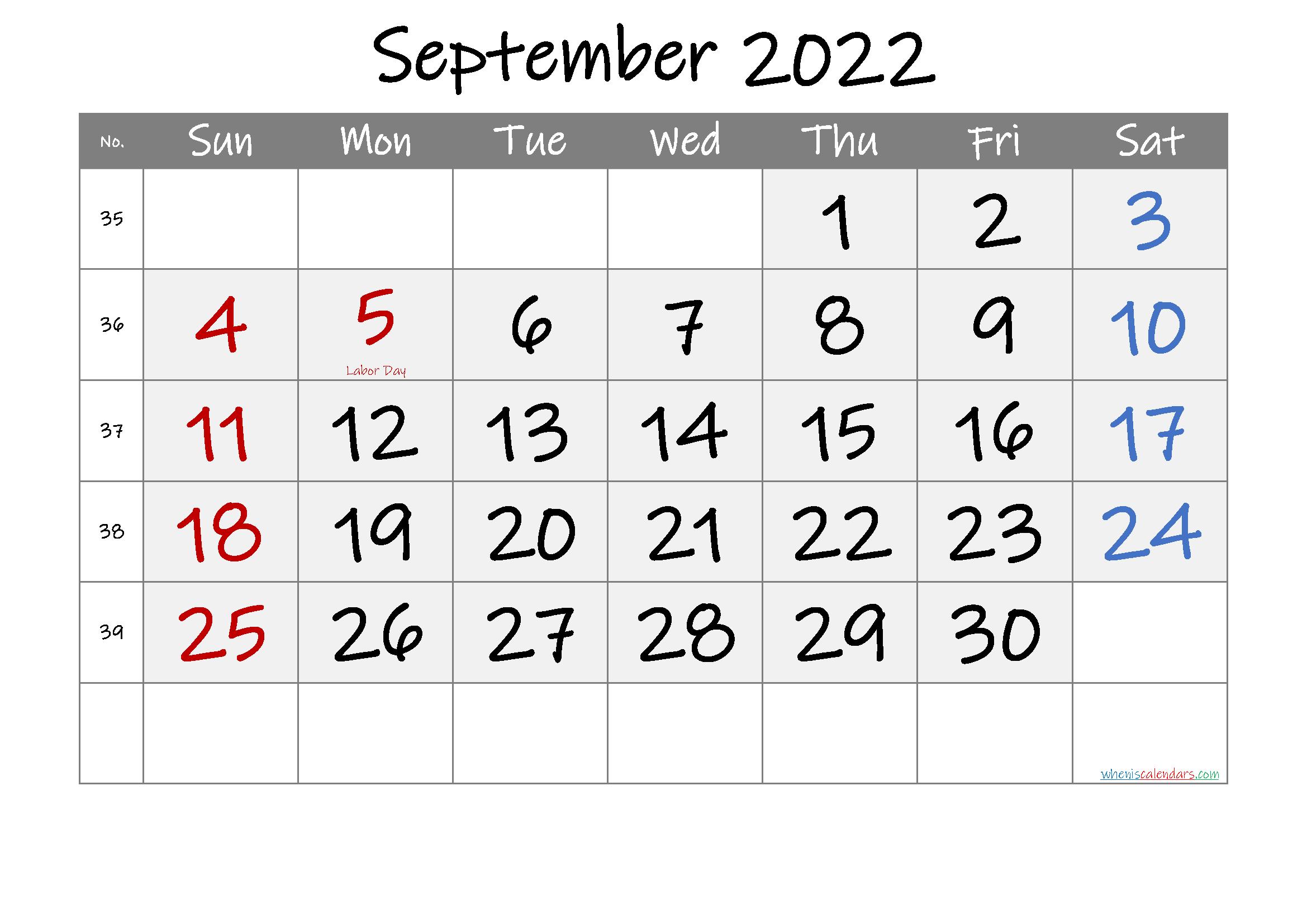 Free Printable Coloring Calendar 2022 September