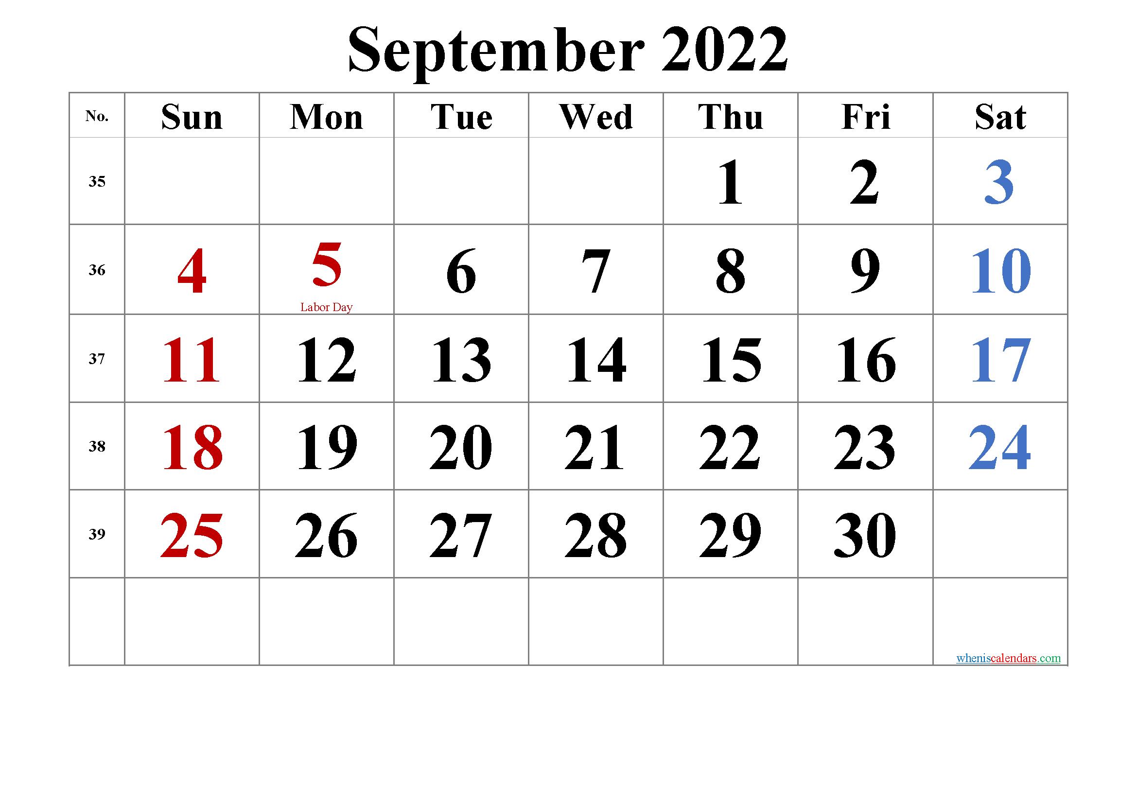 Printable September 2022 Calendar with Holidays