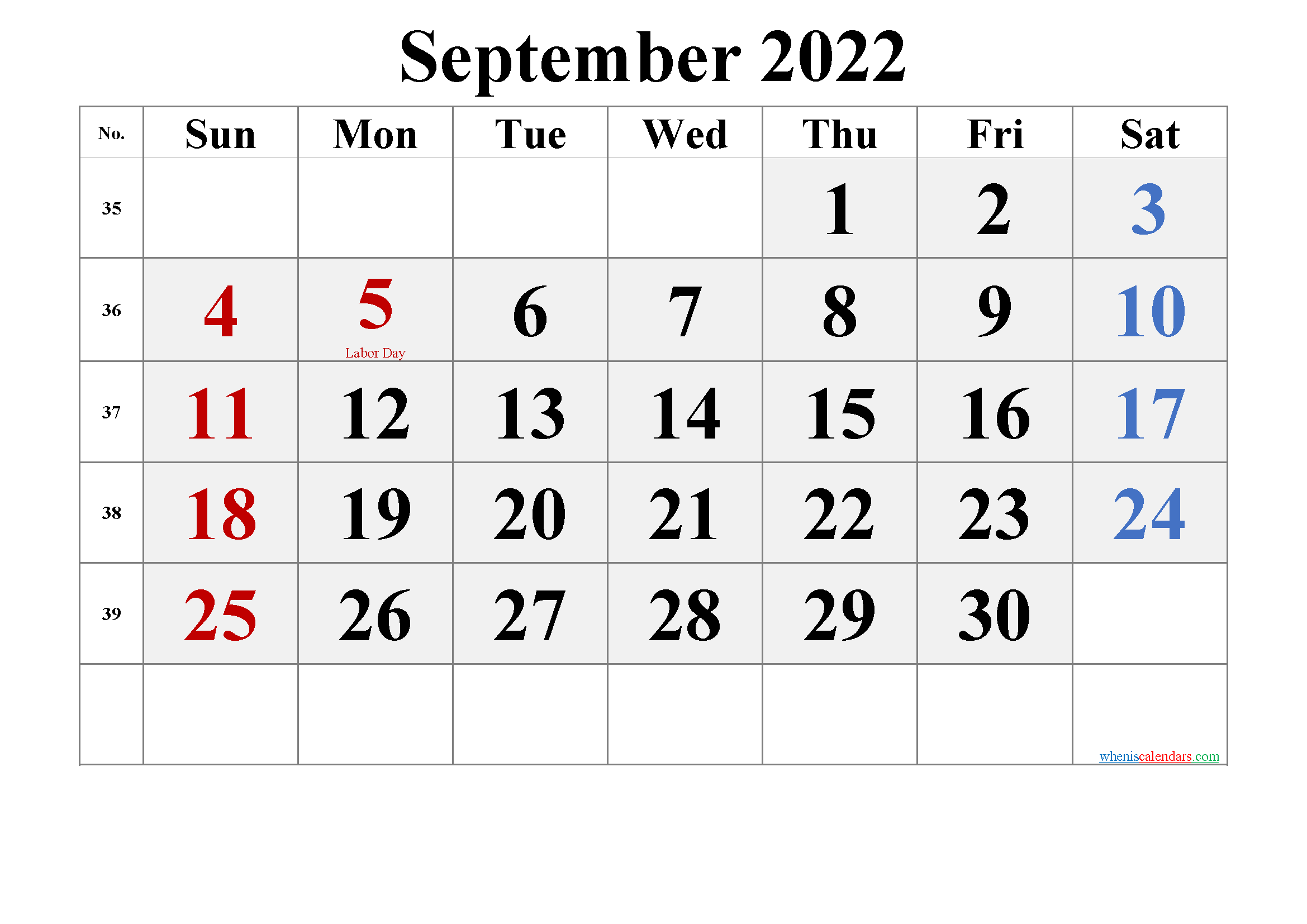 Free Printable September 2022 Calendar (PDF and PNG)