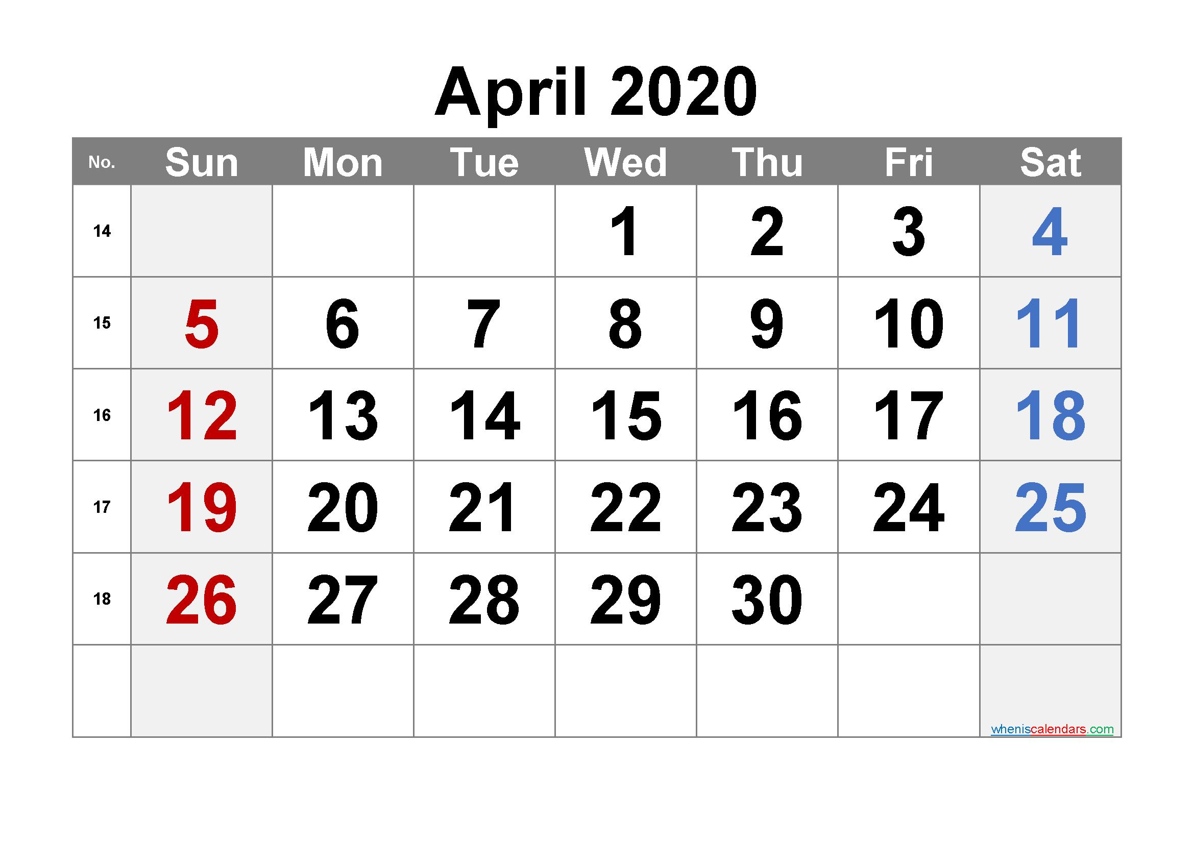 Free April 2020 Calendar