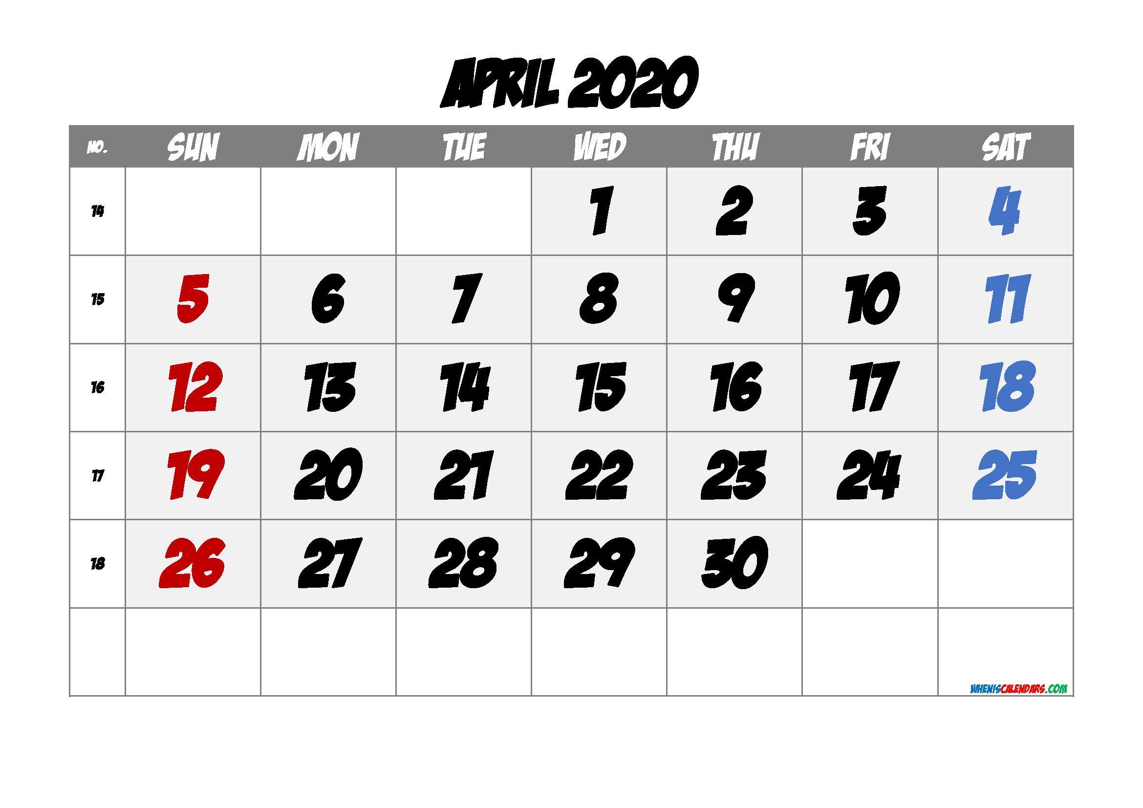 Printable Calendar April 2020
