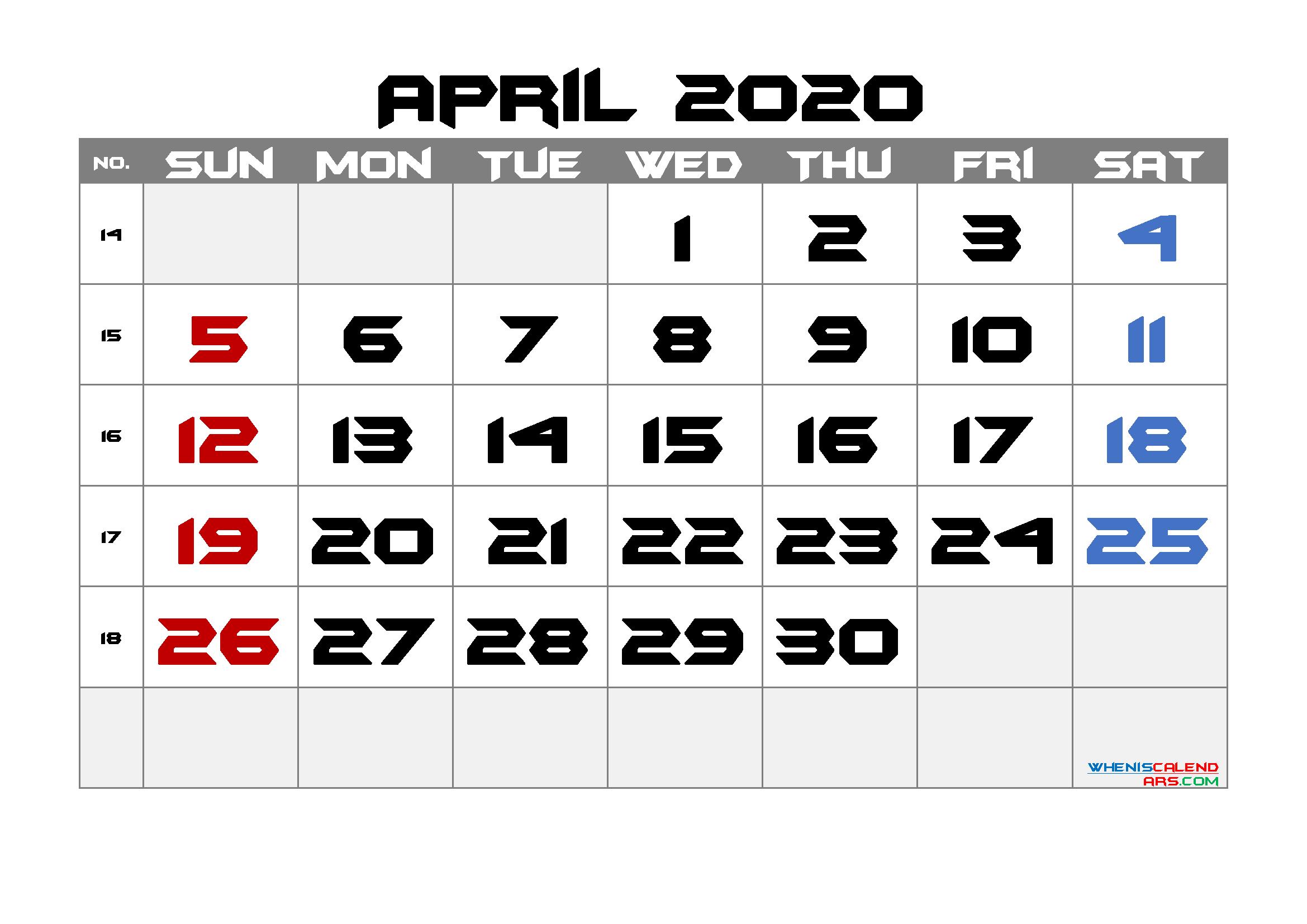 2020 April Free Printable Calendar